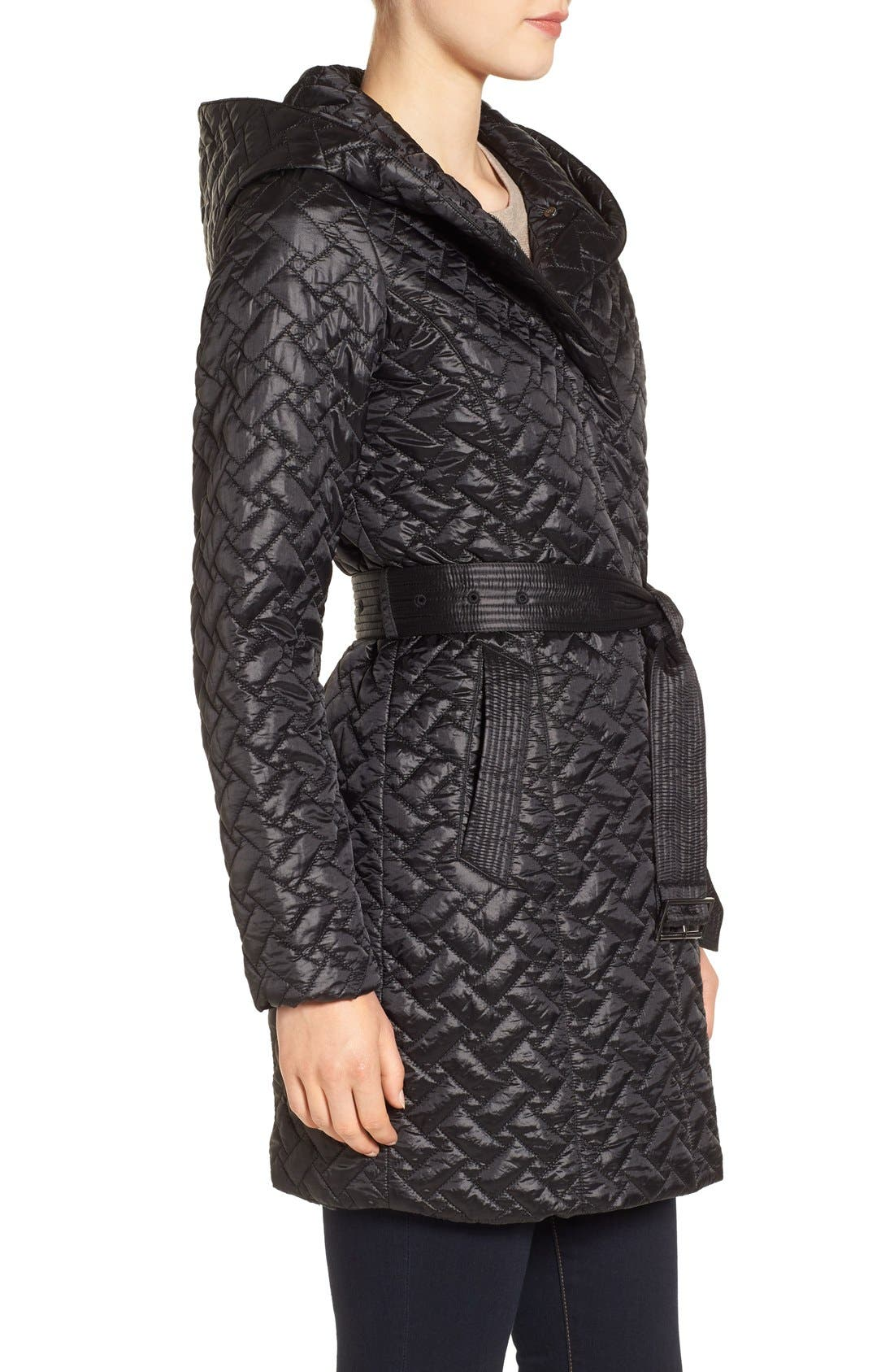 'Thermore' Water Repellent Quilted Coat,                             Alternate thumbnail 3, color,                             001