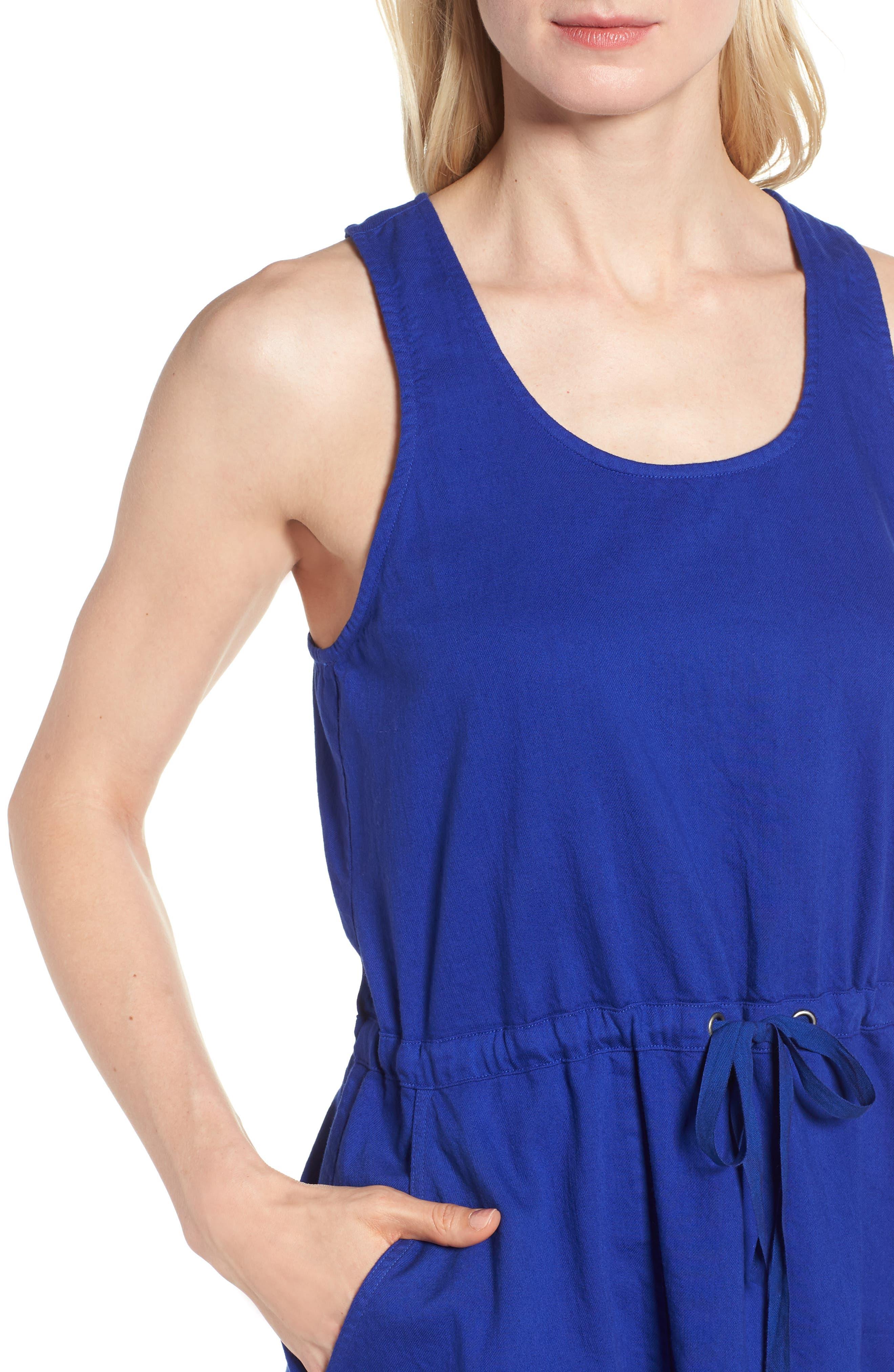 Drawstring Organic Cotton Midi Dress,                             Alternate thumbnail 17, color,