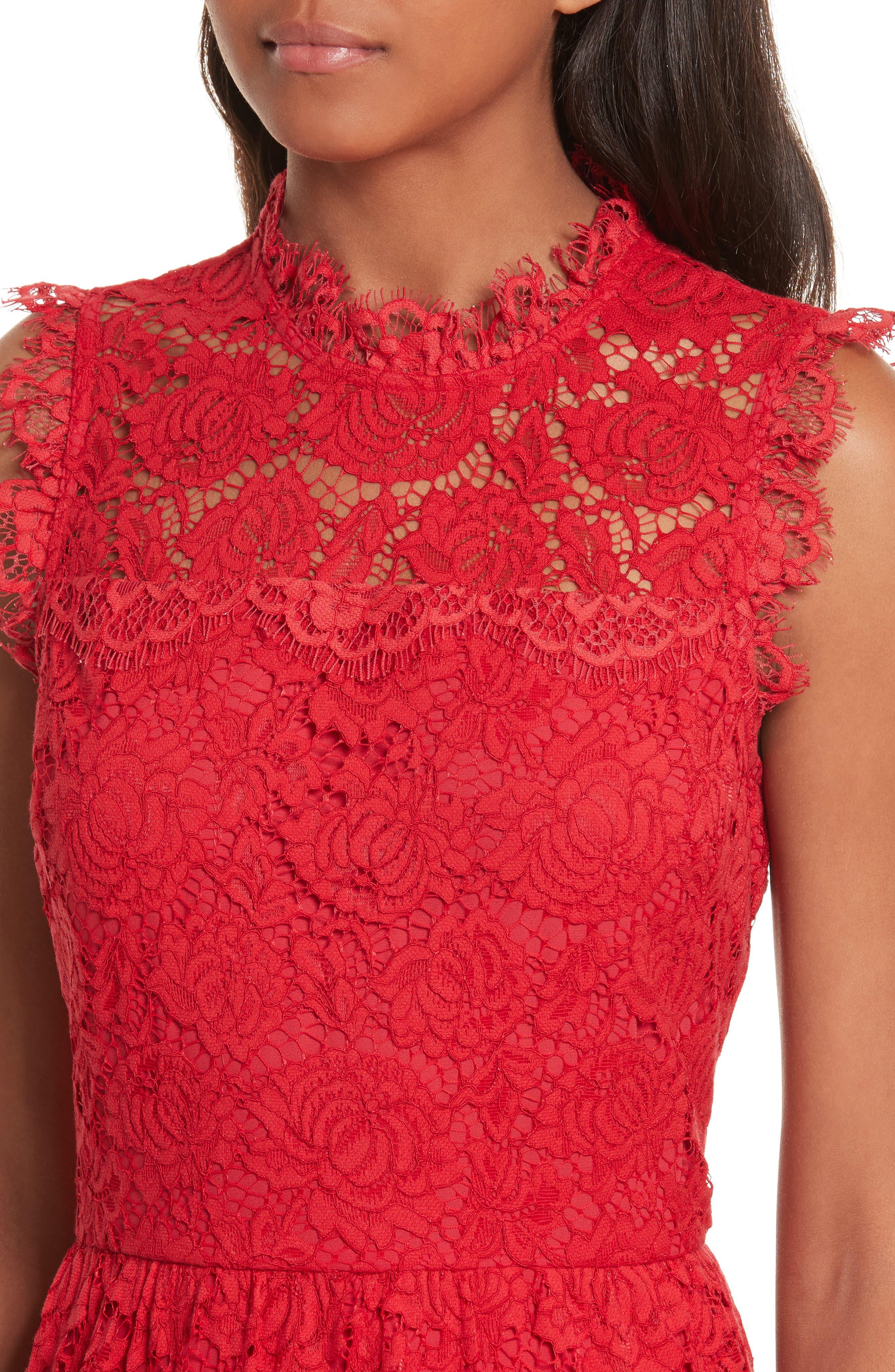 kate spade poppy lace dress,                             Alternate thumbnail 4, color,                             622