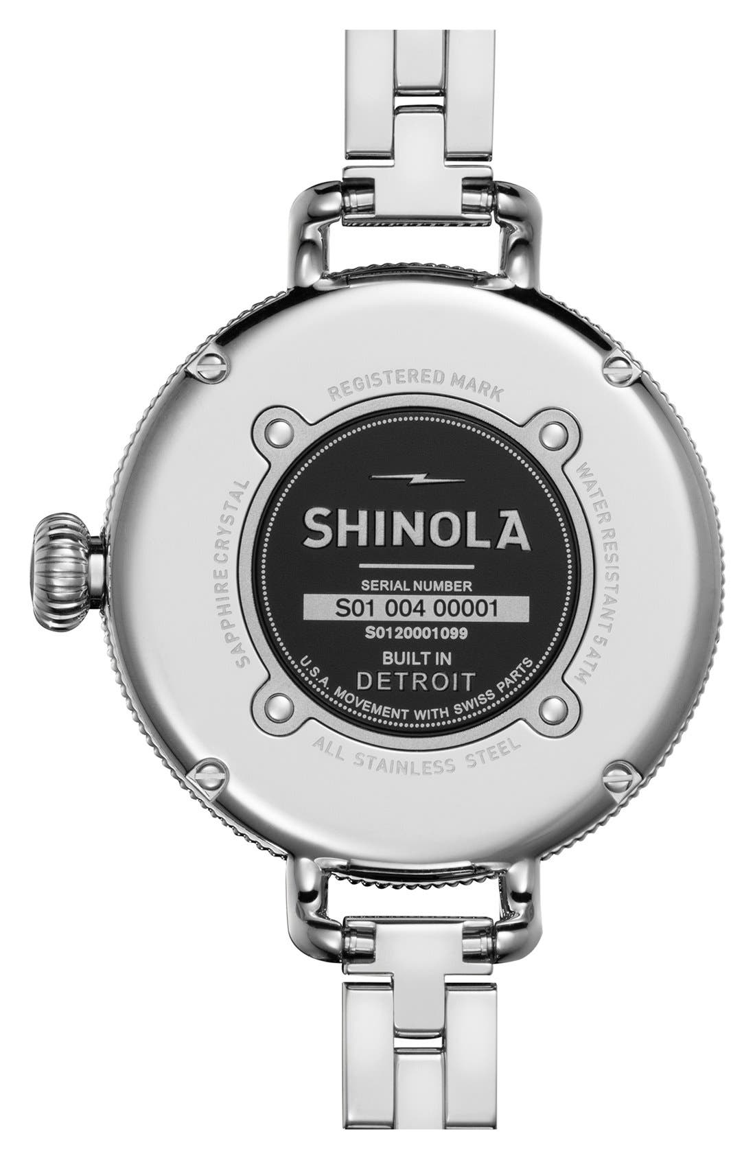 SHINOLA,                             'The Birdy' Bracelet Watch, 34mm,                             Alternate thumbnail 4, color,                             SILVER/ NAVY MOTHER OF PEARL