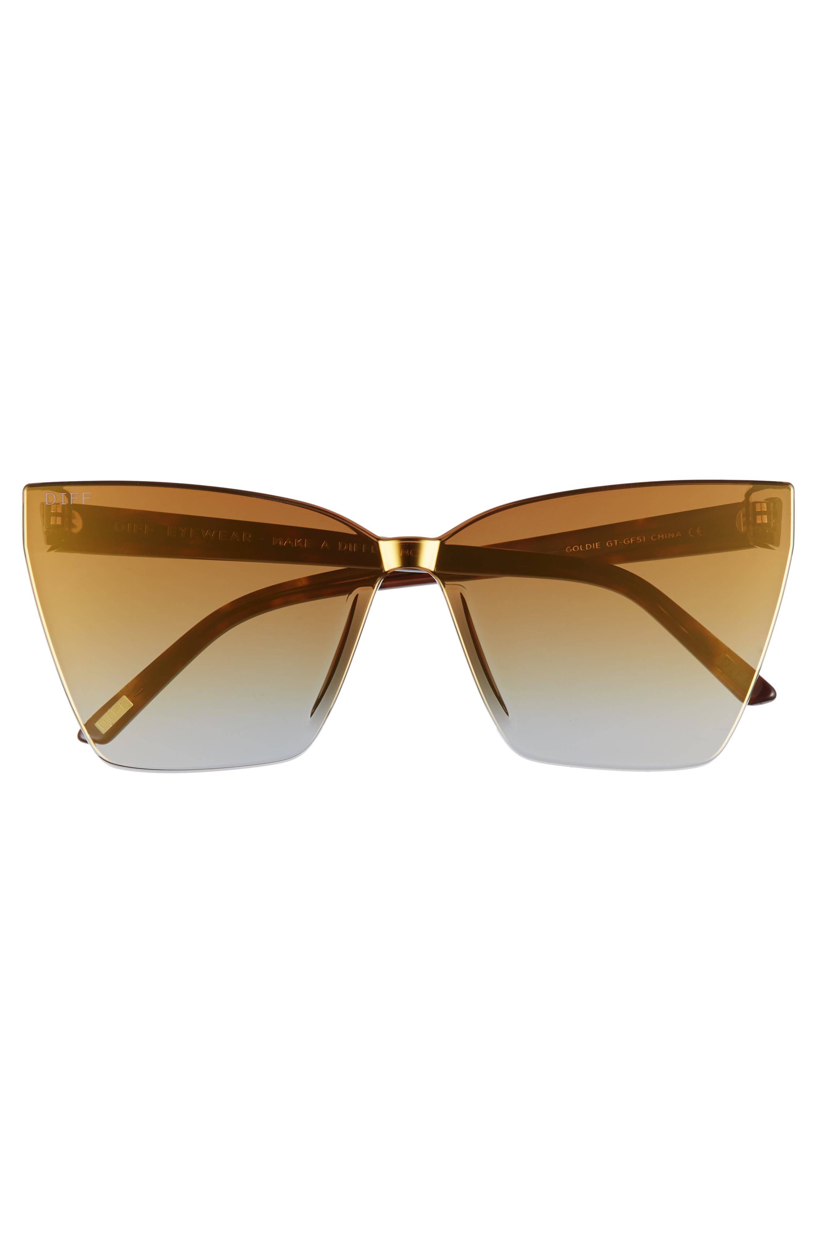 Goldie 65mm Rimless Butterfly Sunglasses,                             Alternate thumbnail 3, color,                             710