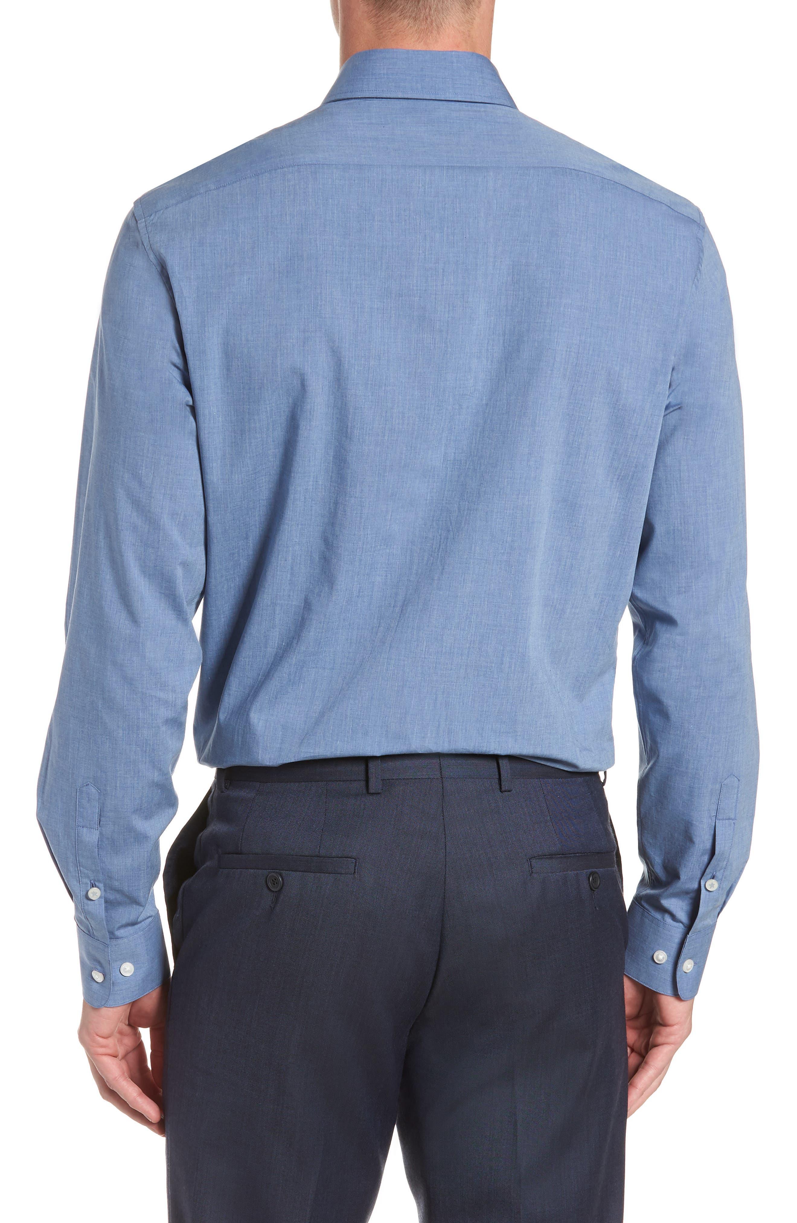 Regular Fit Solid Dress Shirt,                             Alternate thumbnail 3, color,                             BLUE HEATHER