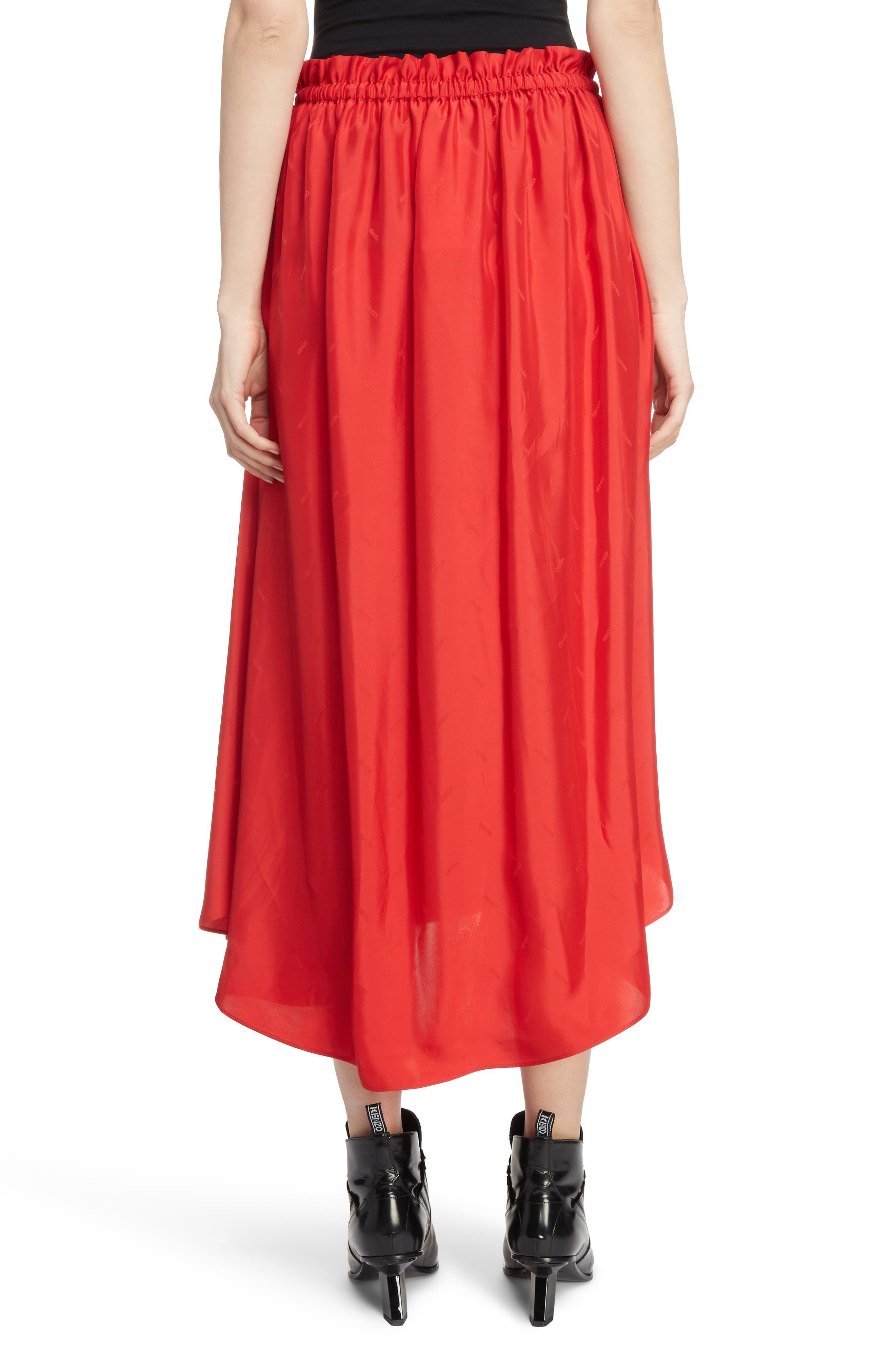 Long Belted Skirt,                             Alternate thumbnail 2, color,                             VISCOSE/ MEDIUM RED