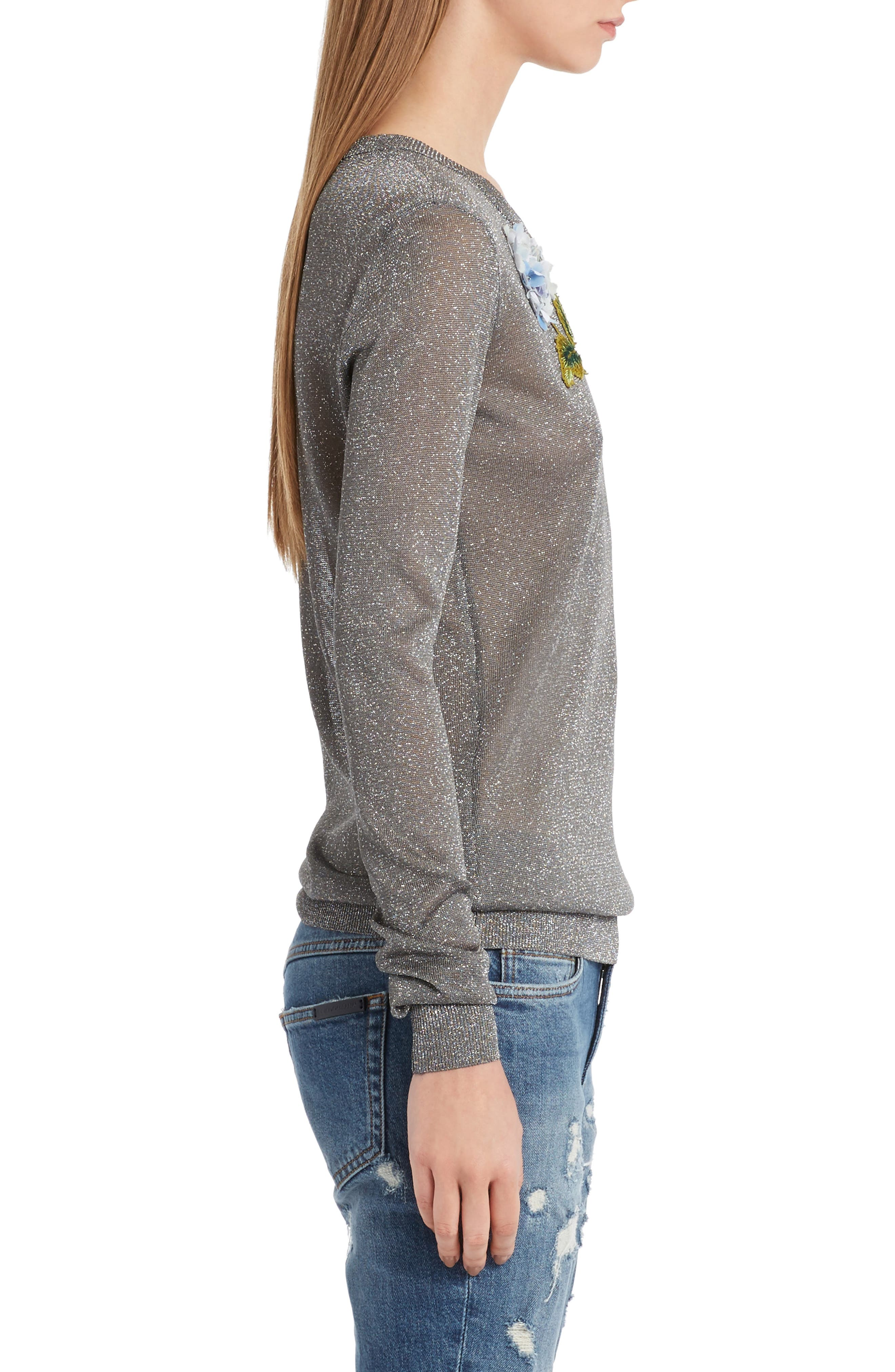Embellished Metallic Sweater,                             Alternate thumbnail 3, color,
