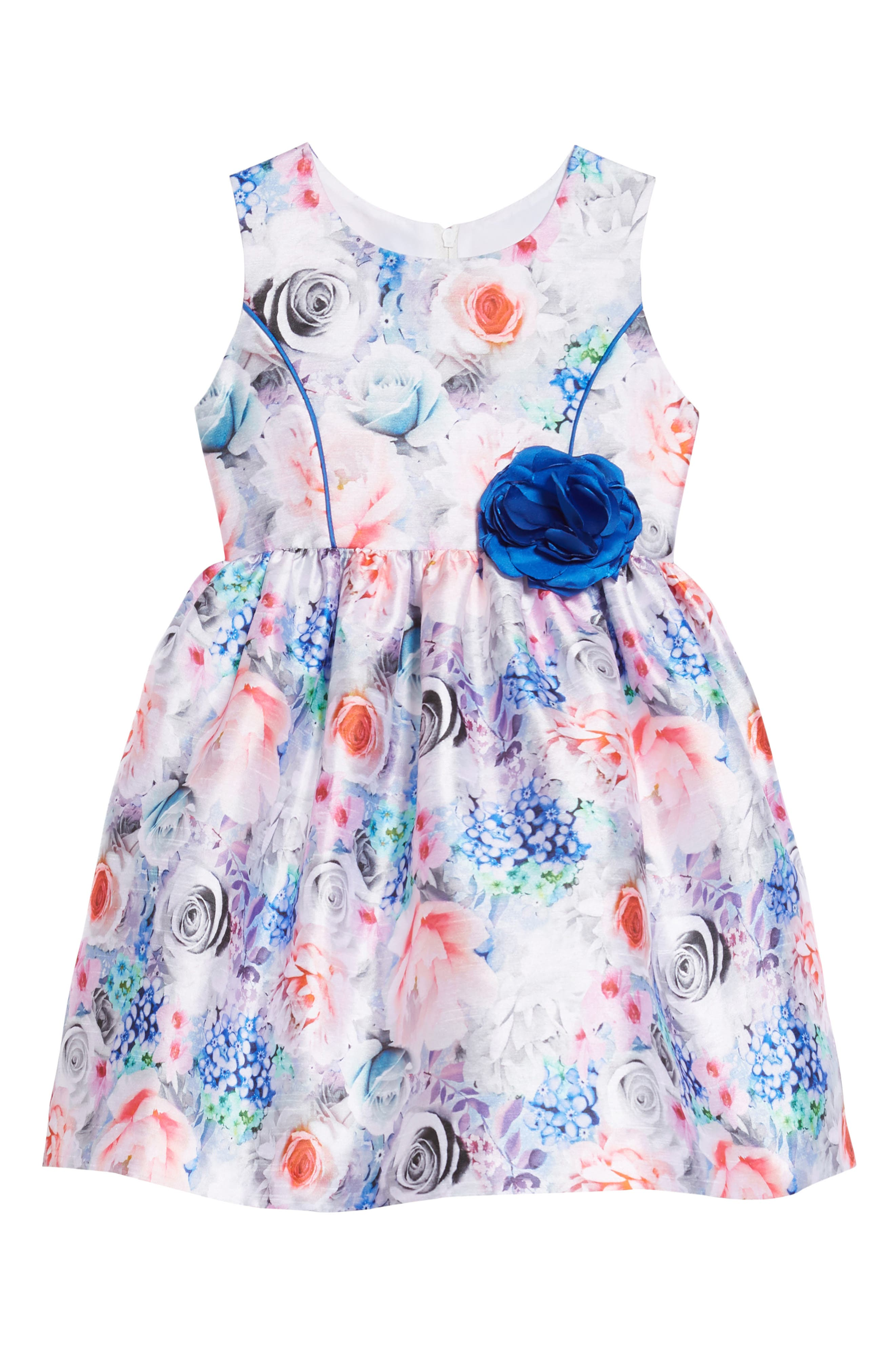 Floral Art Fit & Flare Dress,                             Main thumbnail 1, color,                             MULTI