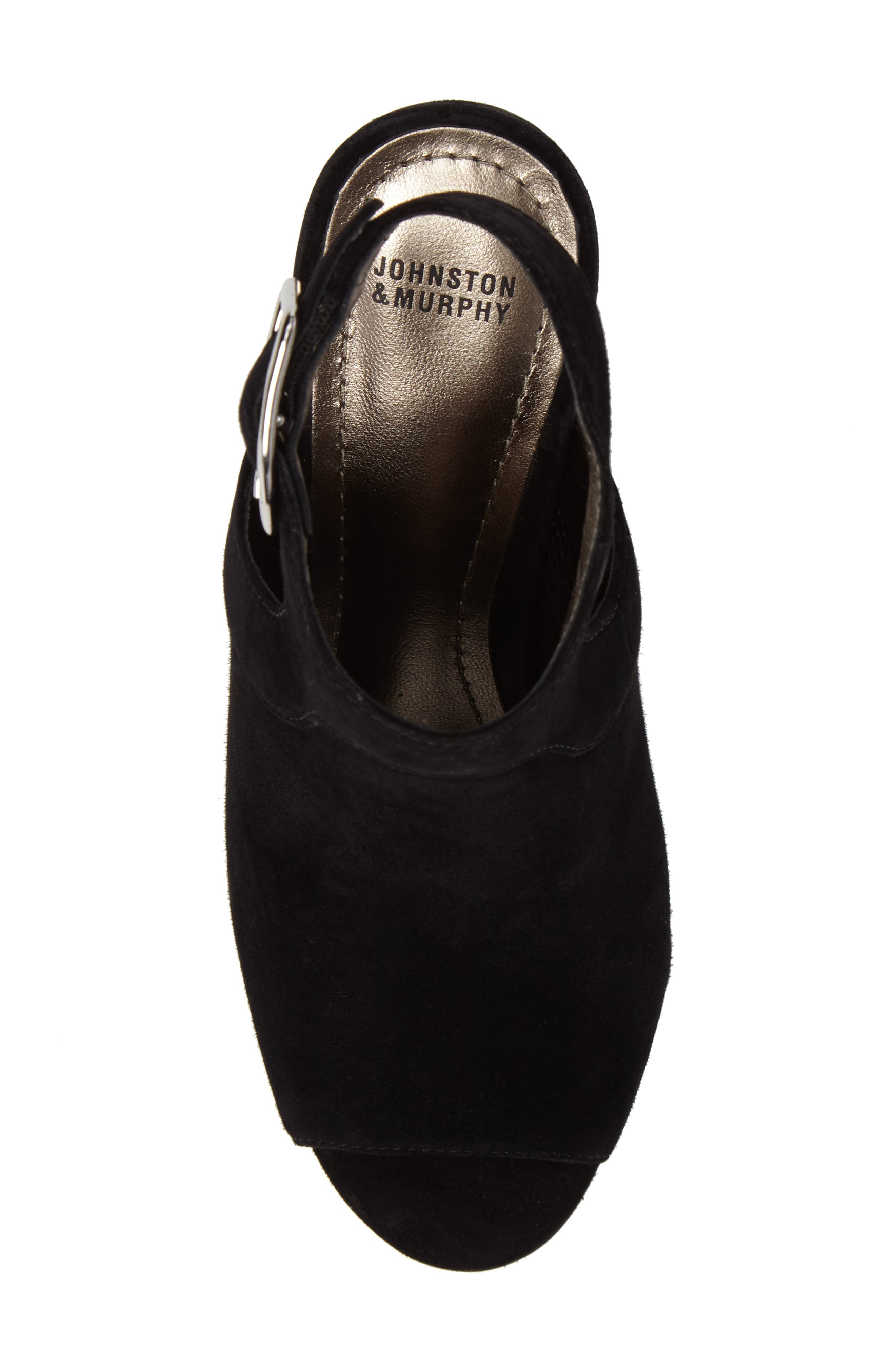 Cassie Peep Toe Sandal,                             Alternate thumbnail 5, color,                             BLACK LEATHER