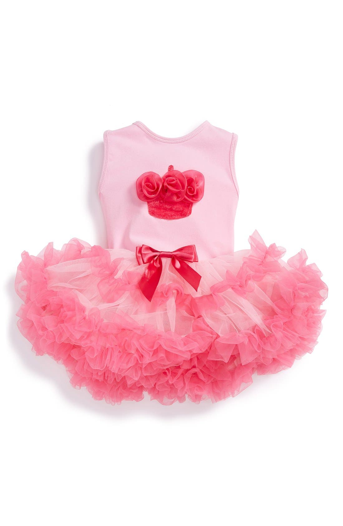 'Birthday' Sleeveless Tutu Dress,                         Main,                         color, PINK