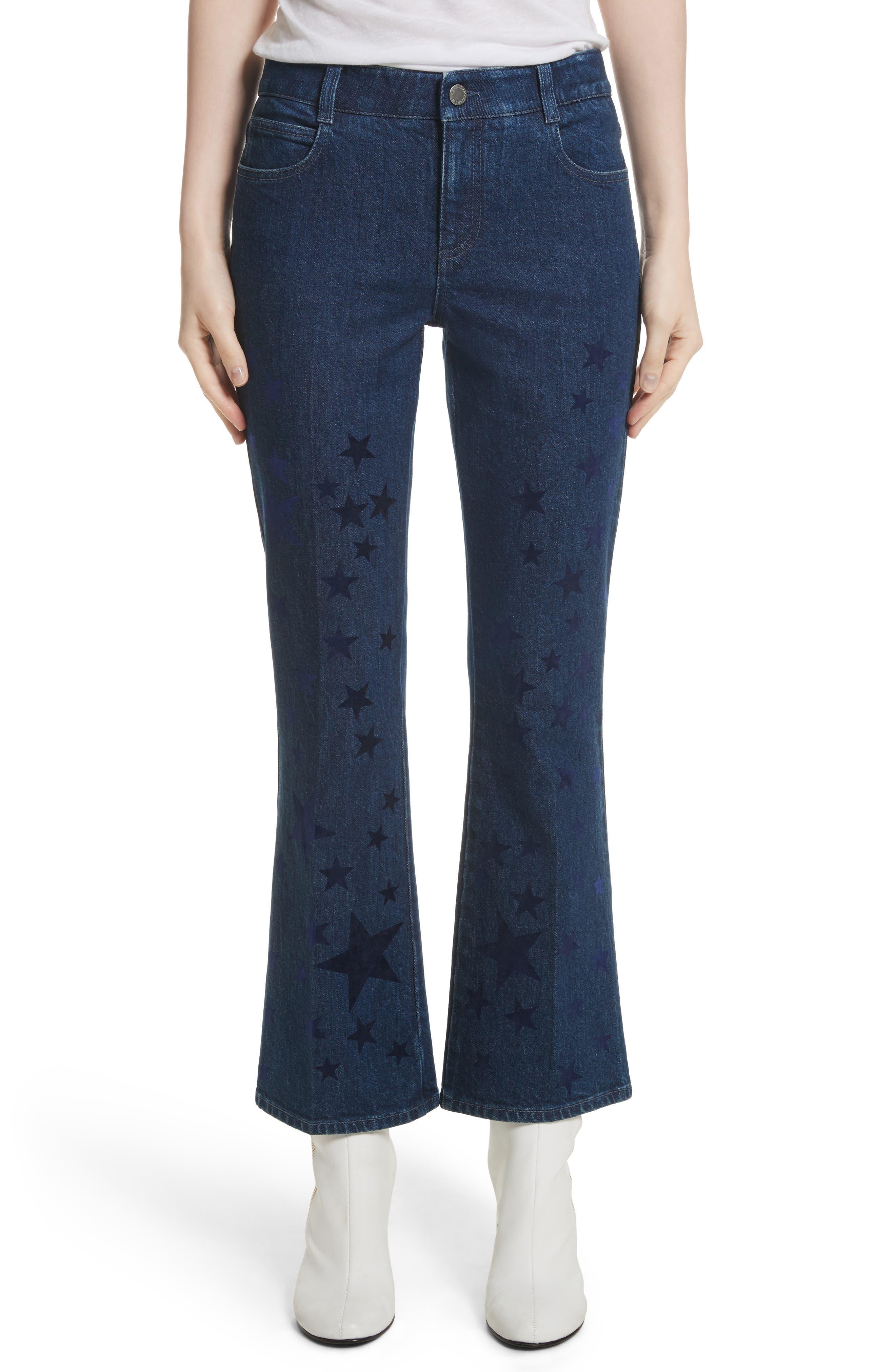 Star Print Crop Flare Jeans,                             Main thumbnail 1, color,                             465