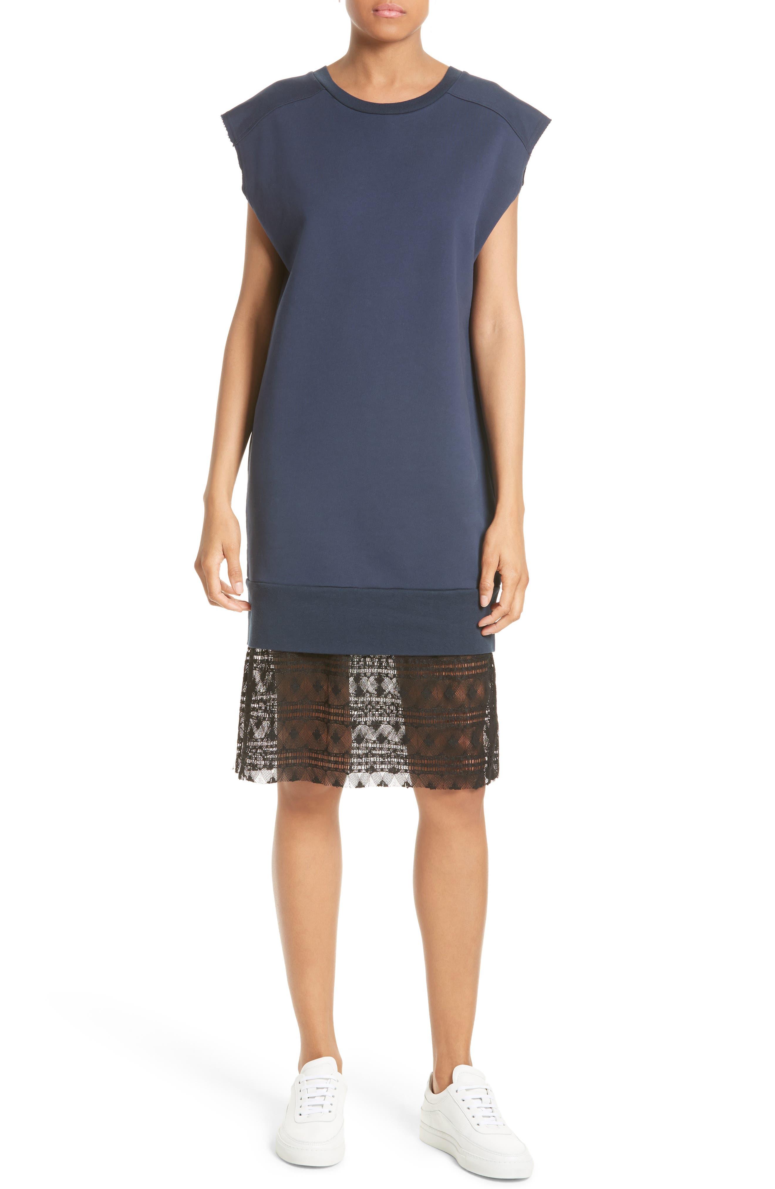 Tesa Lace Trim Sweatshirt Dress,                             Main thumbnail 1, color,                             400