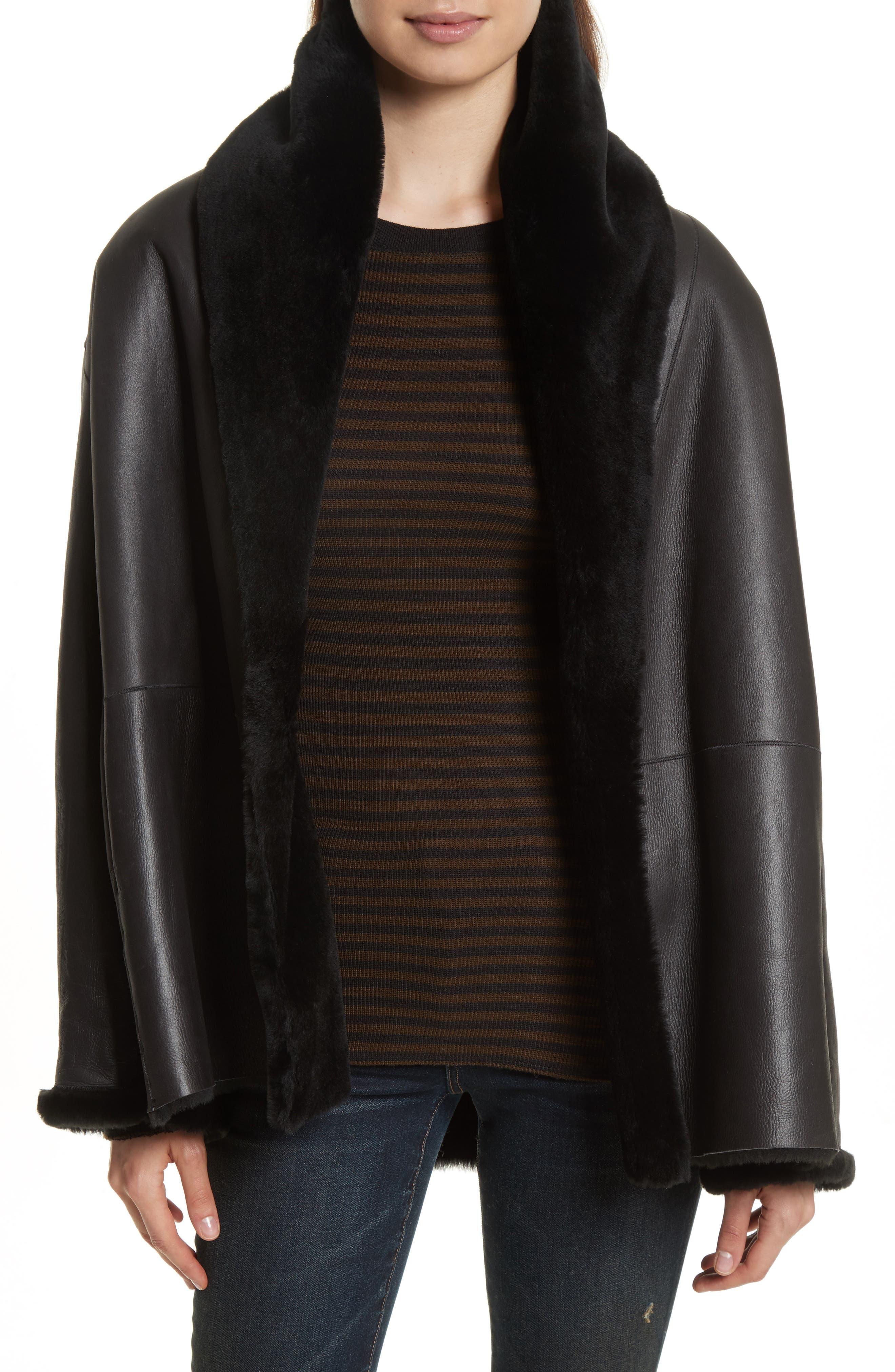 Shawl Collar Genuine Shearling Reversible Coat,                         Main,                         color, 012