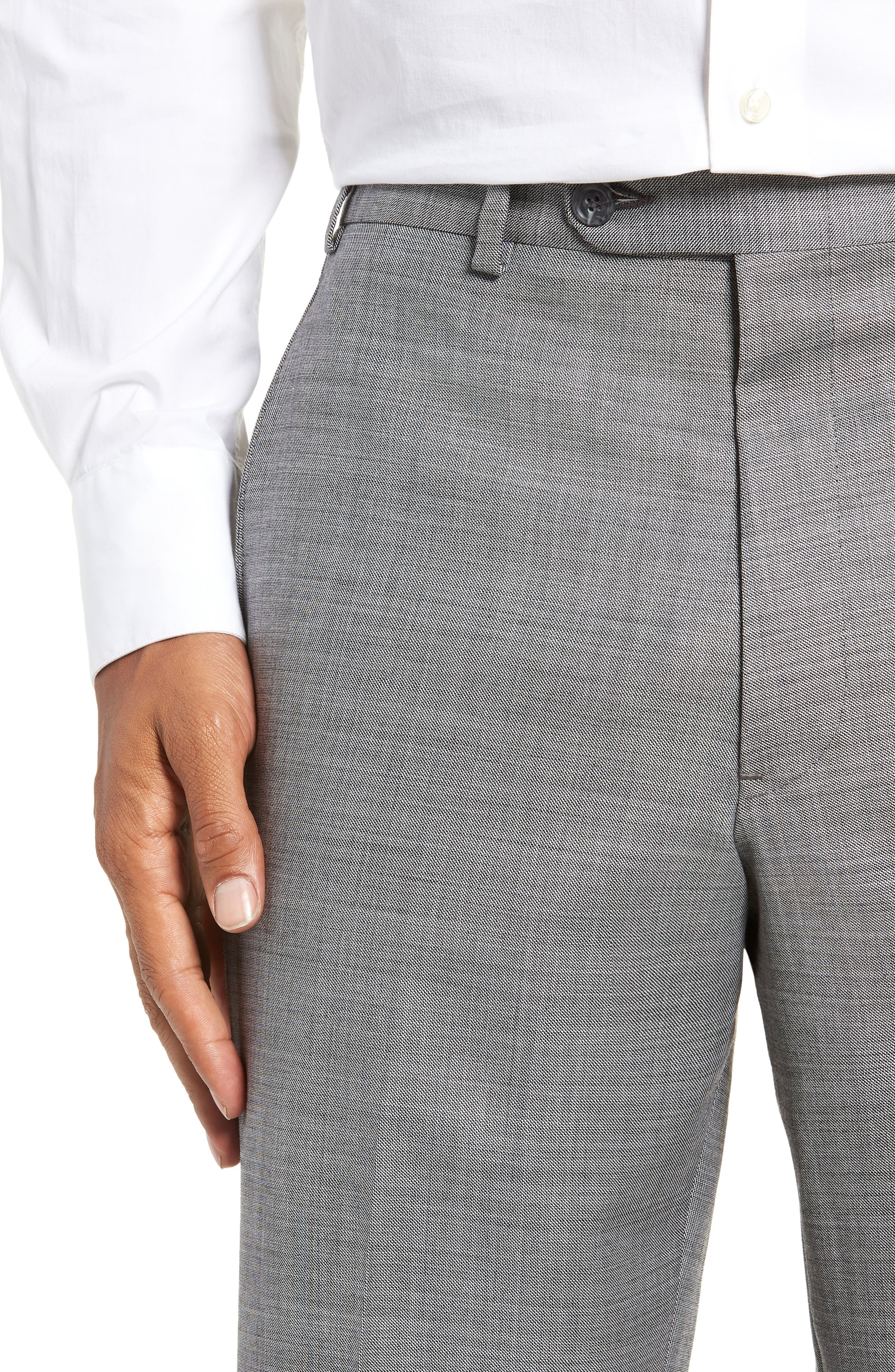 Traditional Fit Flat Front Solid Wool Trousers,                             Alternate thumbnail 4, color,                             GREY PEARL