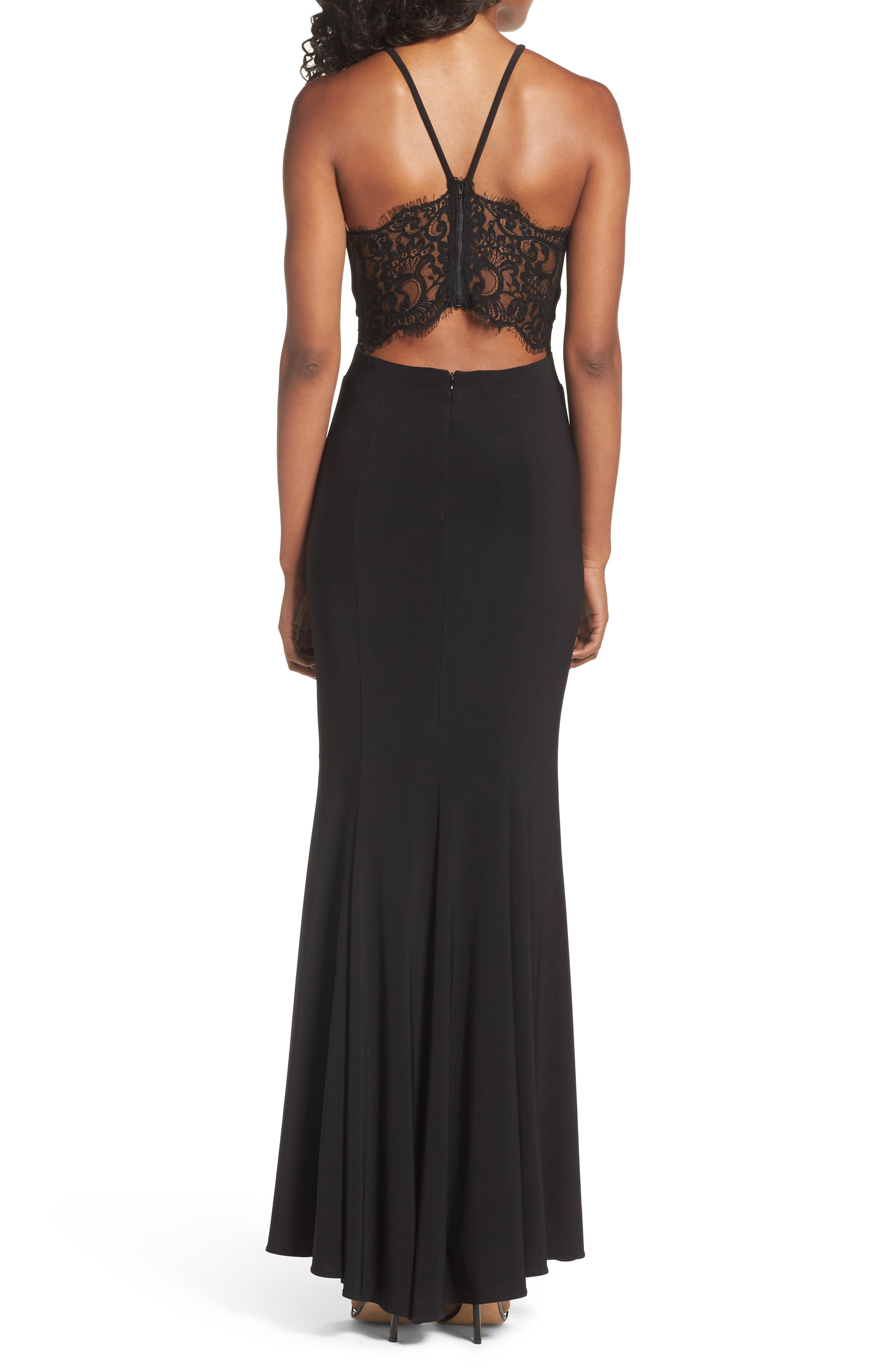Lace & Jersey Mermaid Gown,                             Alternate thumbnail 2, color,                             BLACK