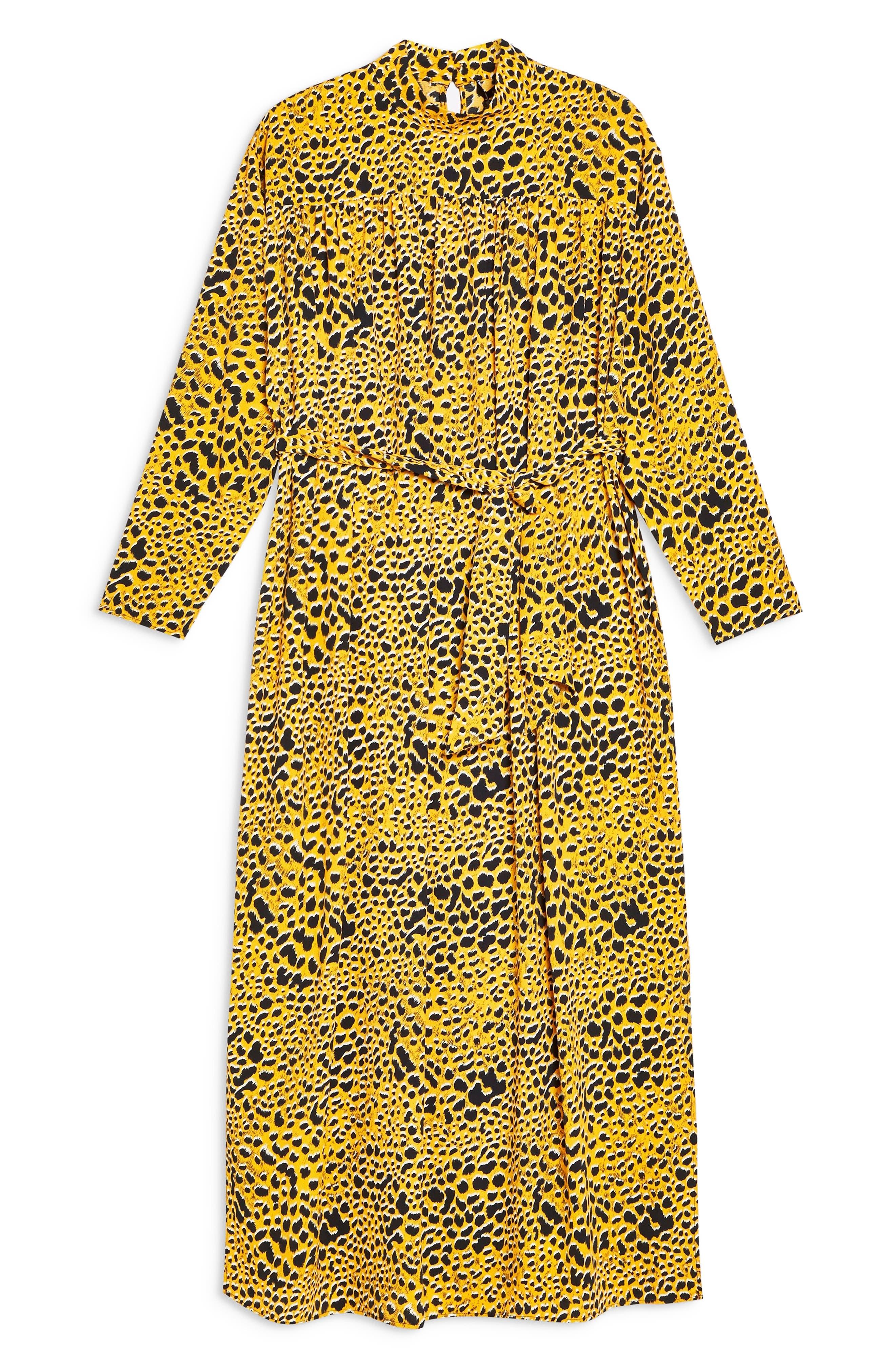 TOPSHOP,                             Abstract Animal Print Midi Dress,                             Alternate thumbnail 4, color,                             YELLOW MULTI