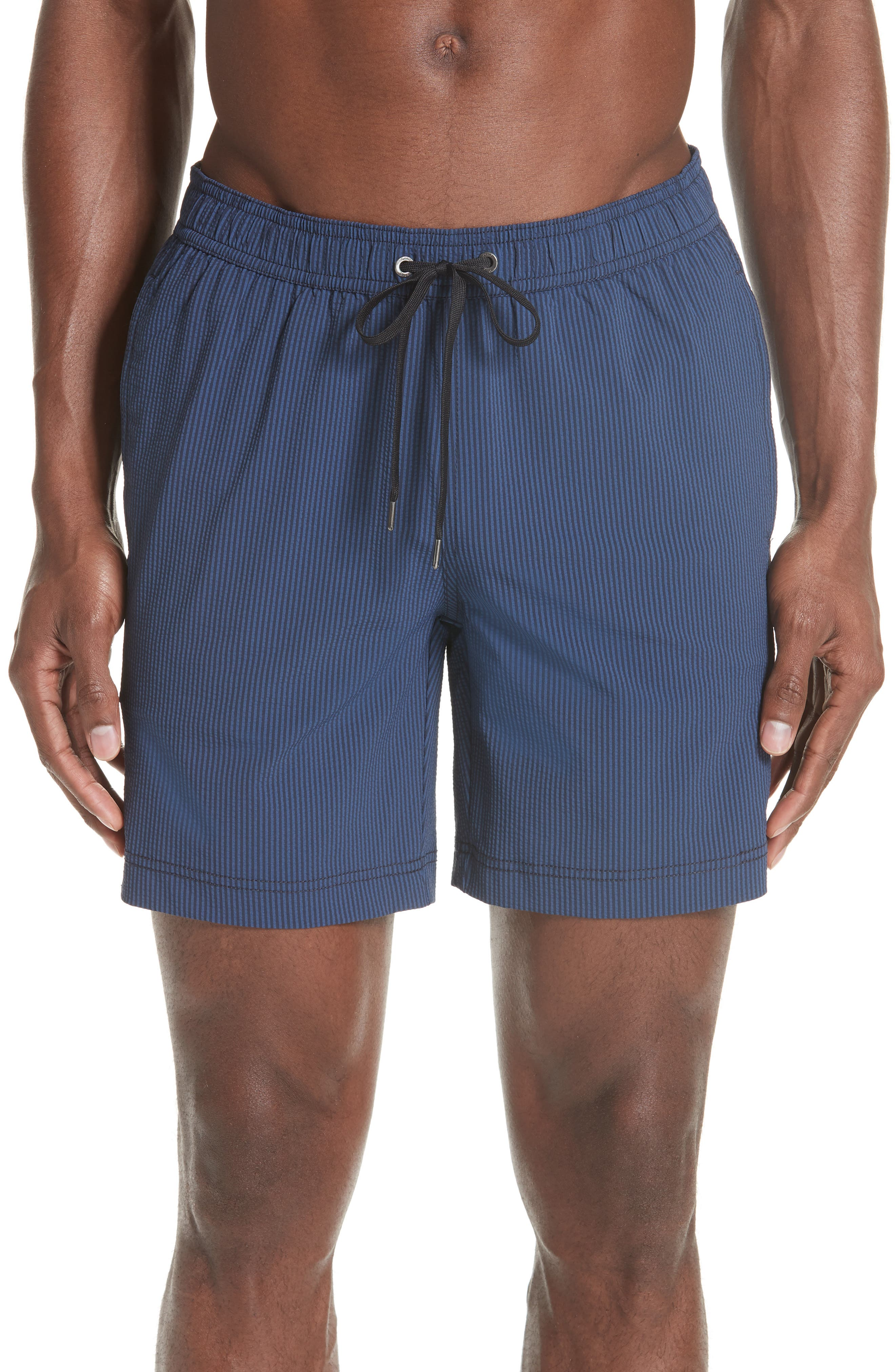 Charles Microstripe Swim Trunks,                         Main,                         color, DEEP NAVY ENSIGN BLUE