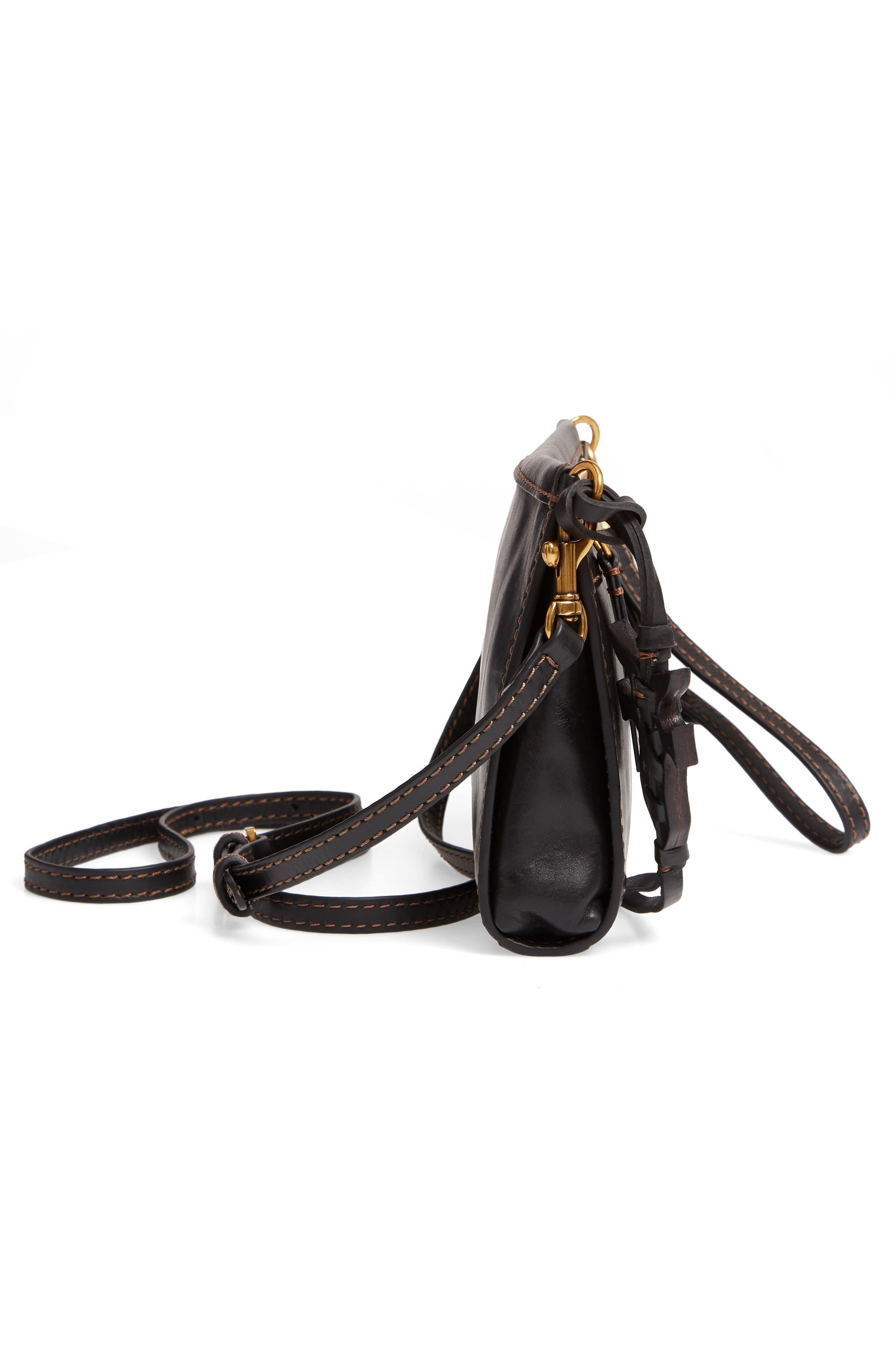Carson Leather Wristlet/Clutch,                             Alternate thumbnail 5, color,                             BLACK