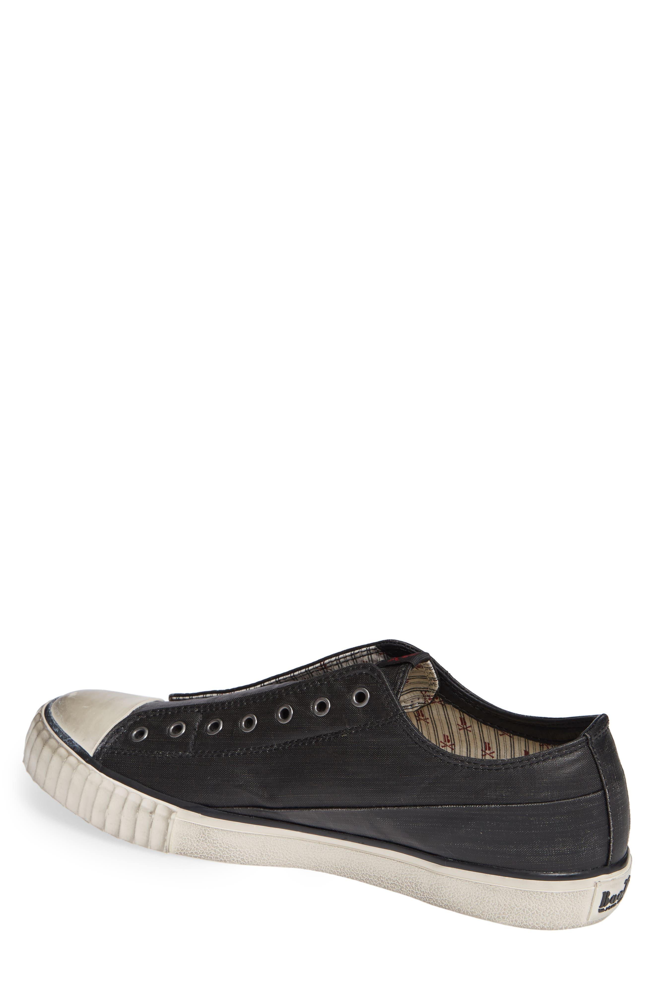 Bootleg Linen Laceless Sneaker,                             Alternate thumbnail 2, color,                             BLACK COATED LINEN