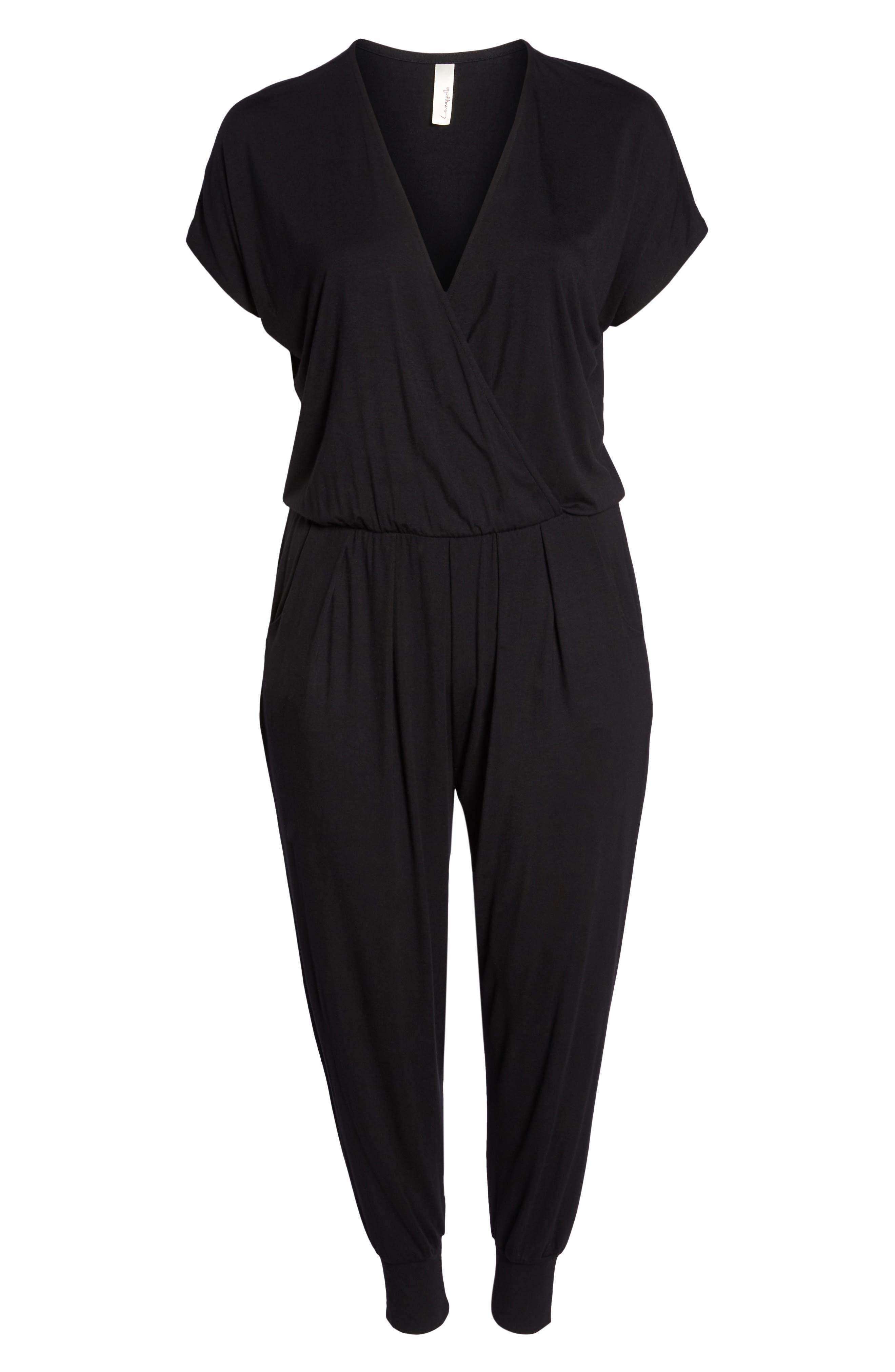 Short Sleeve Wrap Top Jumpsuit,                             Alternate thumbnail 7, color,                             BLACK