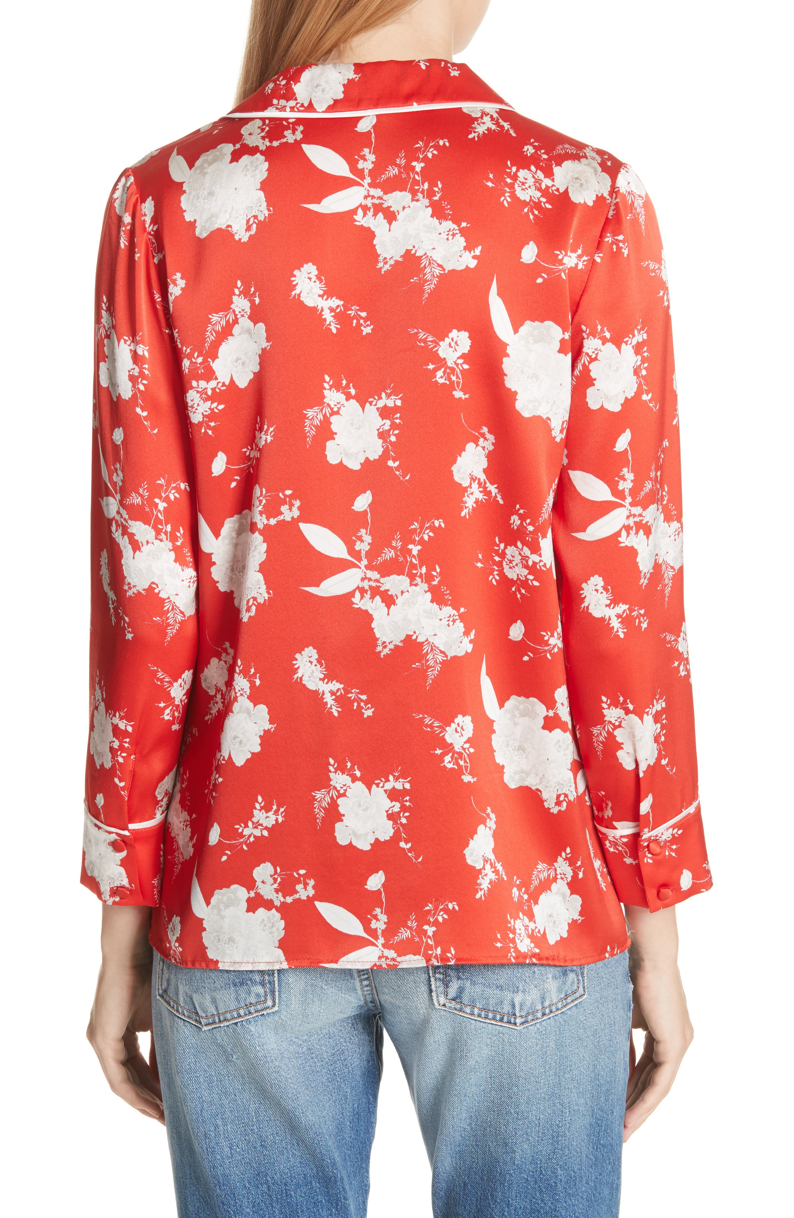 Keir Floral Silk Pajama Shirt,                             Alternate thumbnail 2, color,                             606