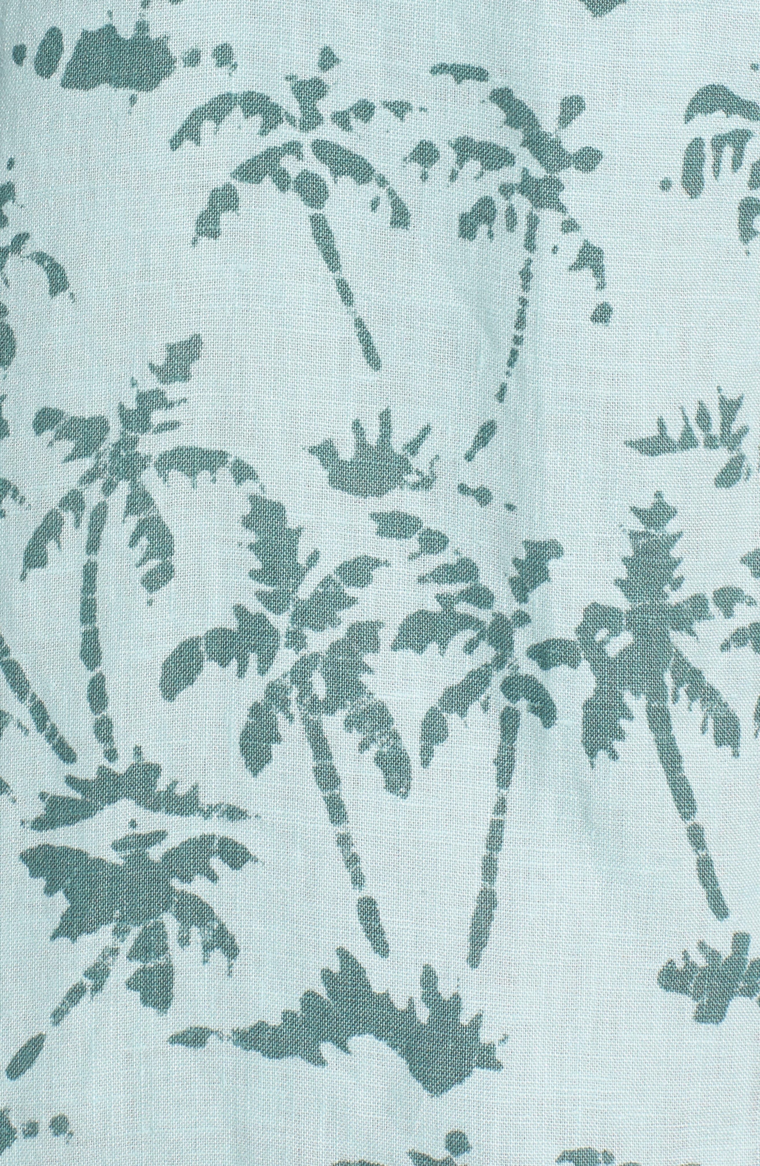Riviera Slim Fit Palm Print Linen Sport Shirt,                             Alternate thumbnail 5, color,                             400
