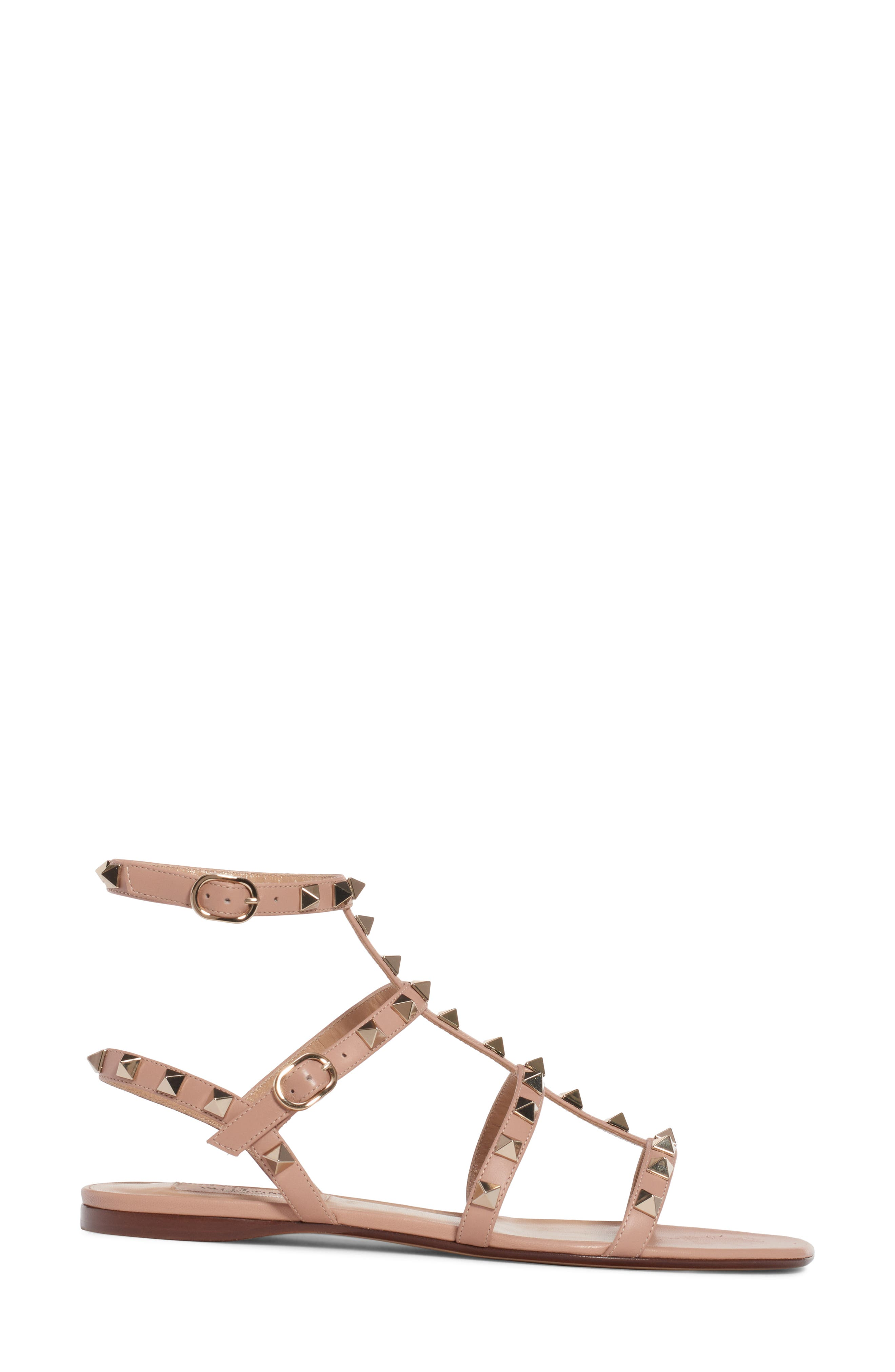 Rockstud Cage Sandal,                             Alternate thumbnail 3, color,                             ROSE BEIGE