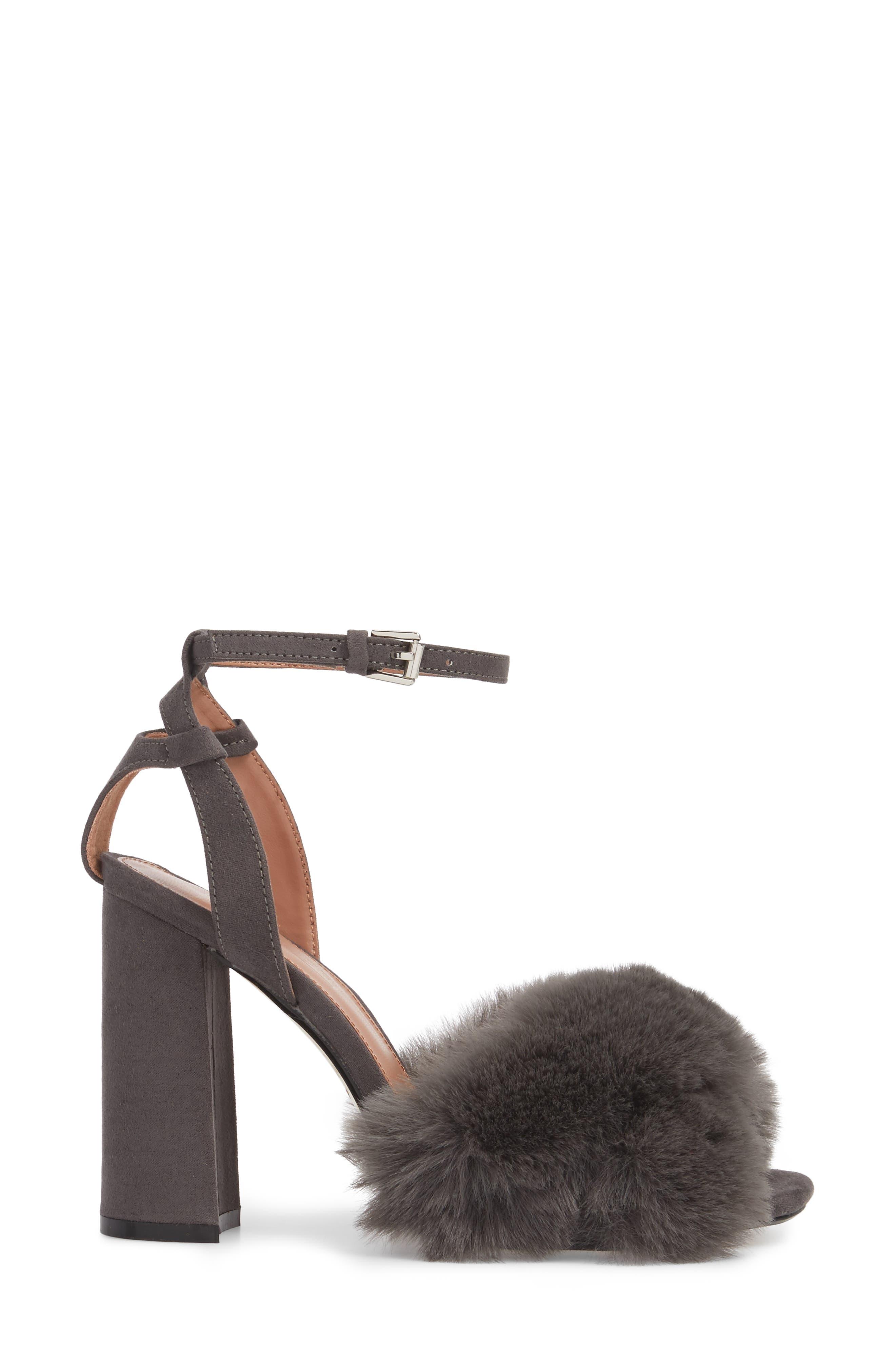 Sassy Faux Fur Sandal,                             Alternate thumbnail 3, color,                             020