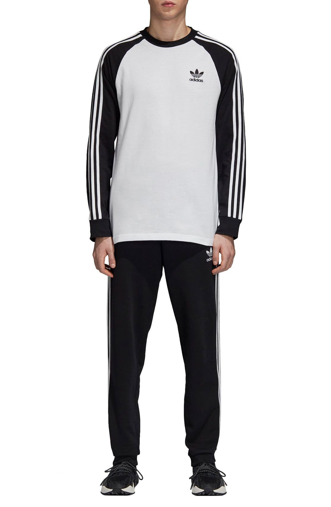 3-Stripes Long Sleeve T-Shirt,                             Alternate thumbnail 6, color,                             WHITE/ BLACK