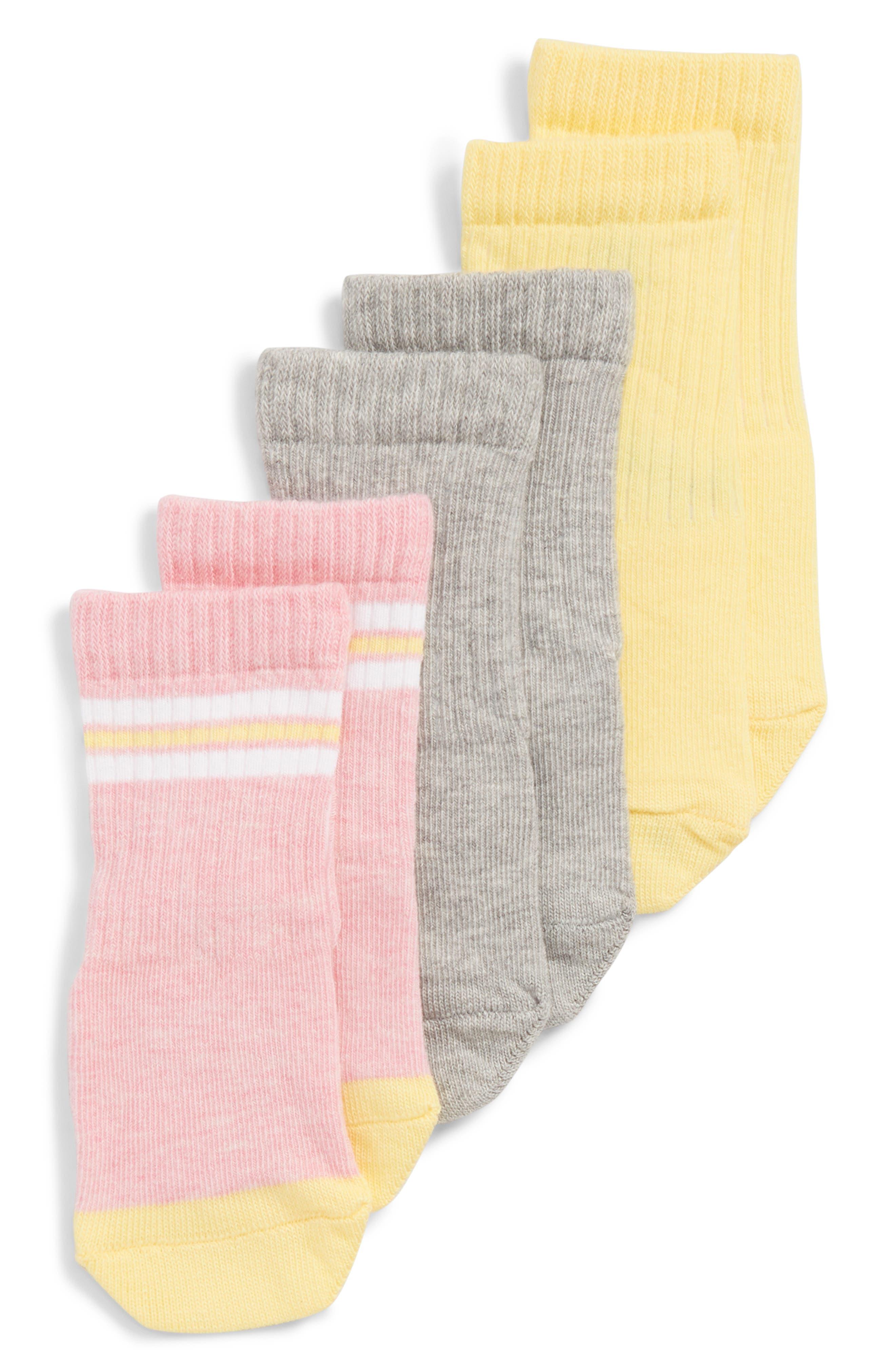 Smile 3-Pack Crew Socks,                         Main,                         color, YELLOW MULTI