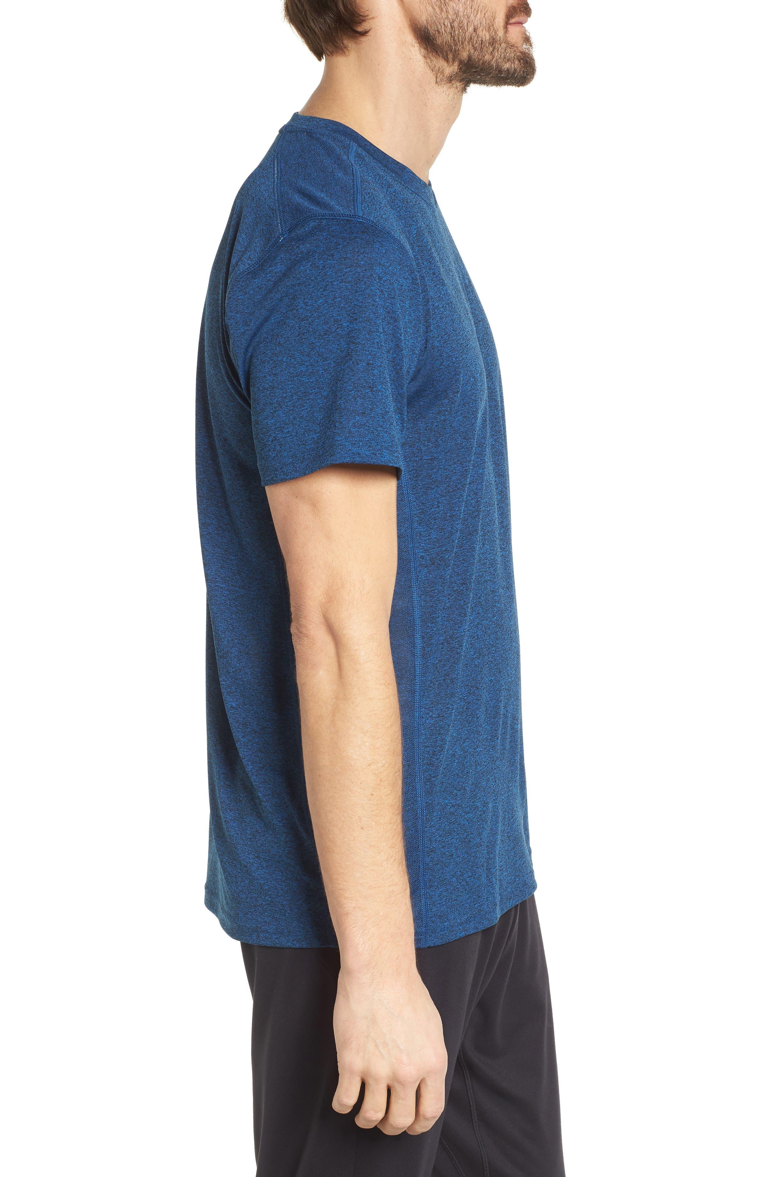 Goodsport Mesh Panel T-Shirt,                             Alternate thumbnail 3, color,                             LAPIS BLUE/ BLACK HEATHER