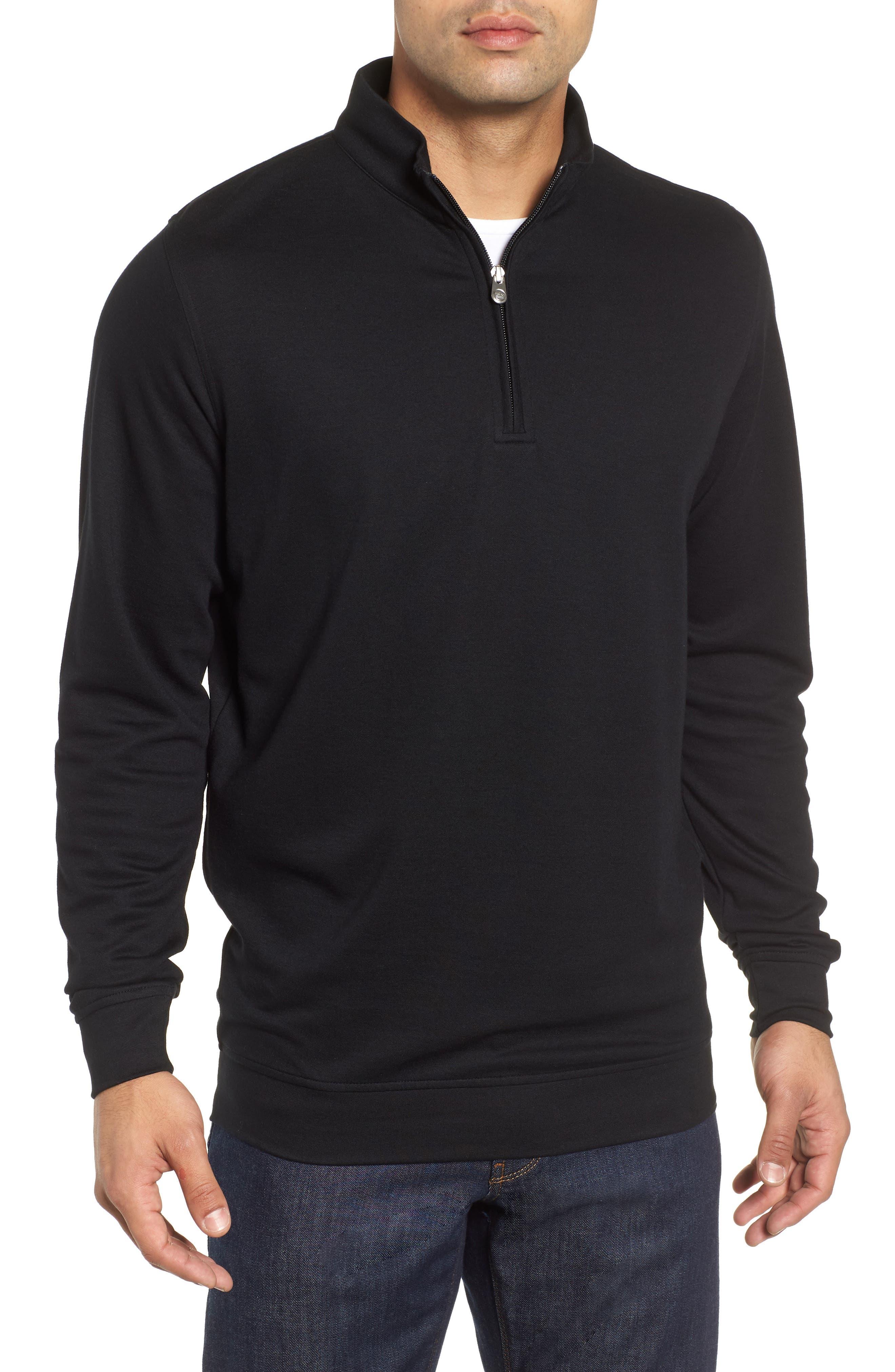Comfort Interlock Quarter Zip Pullover,                             Main thumbnail 1, color,                             BLACK