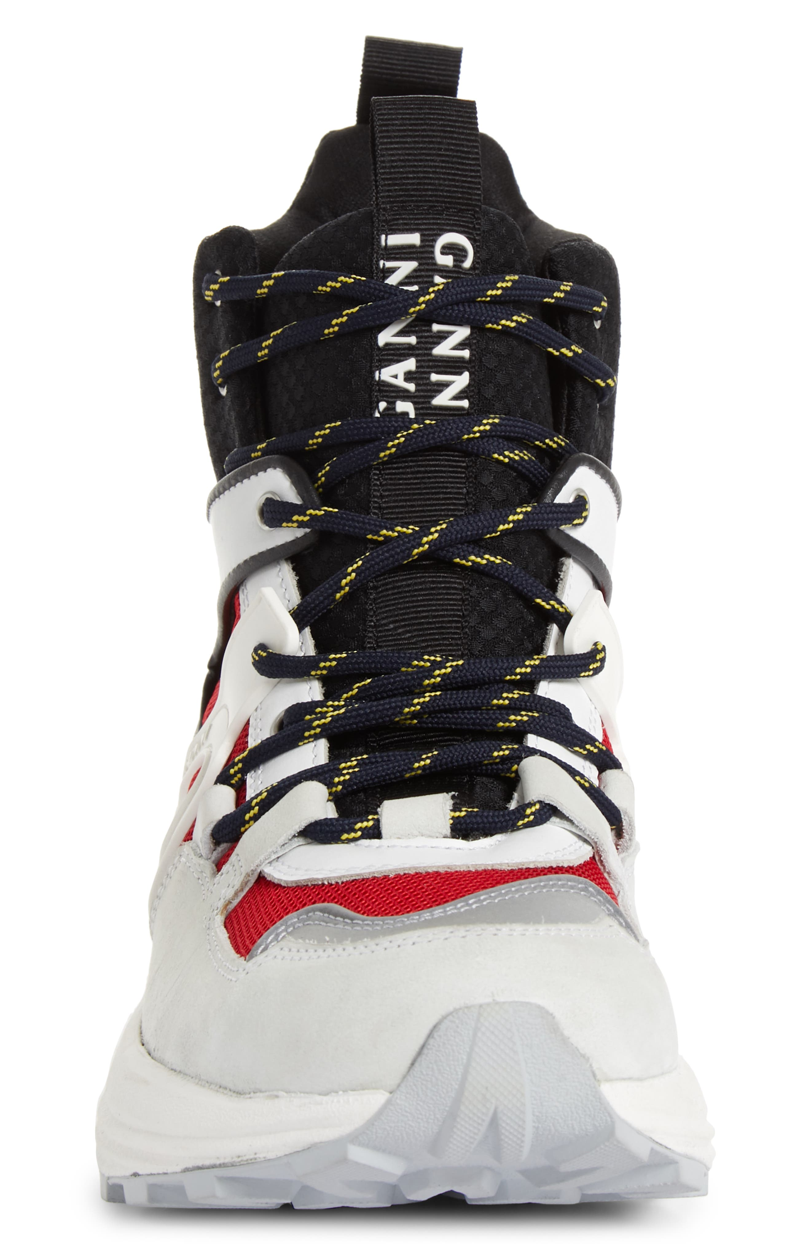 GANNI,                             High Top Tech Sneaker,                             Alternate thumbnail 4, color,                             FIERY RED 403
