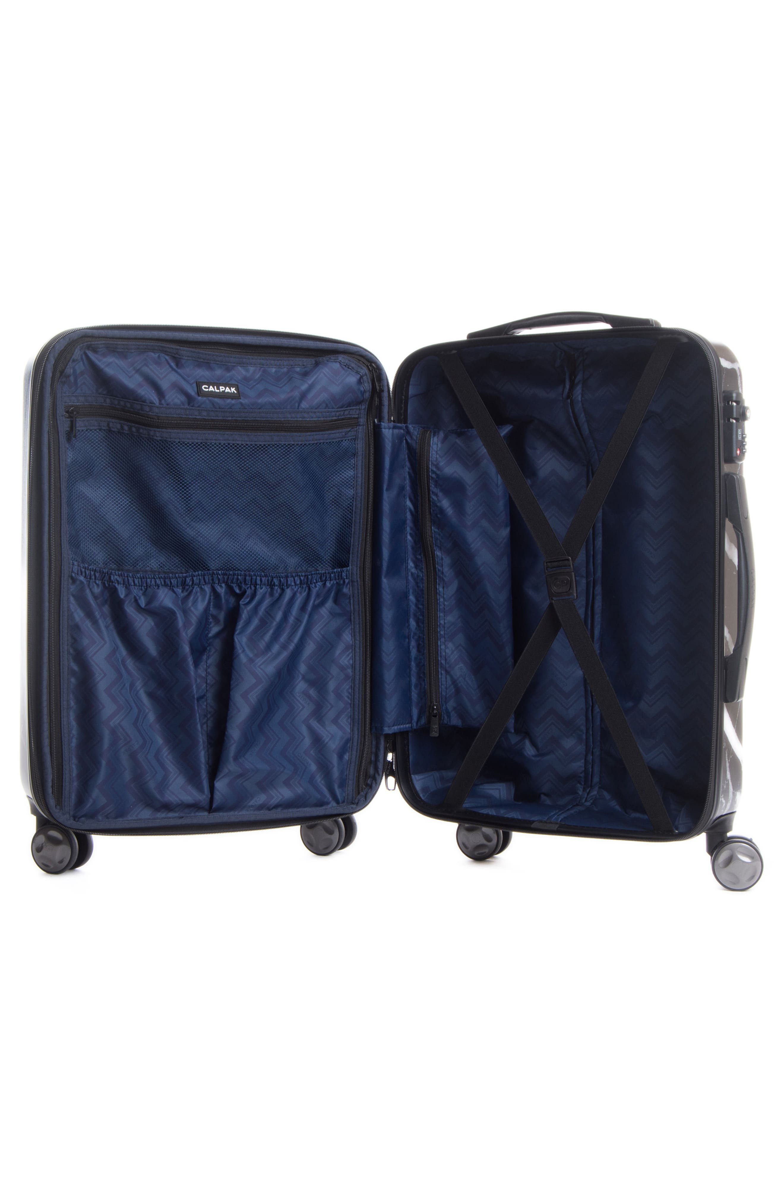 Astyll 3-Piece Marbled Luggage Set,                             Alternate thumbnail 7, color,                             BLACK