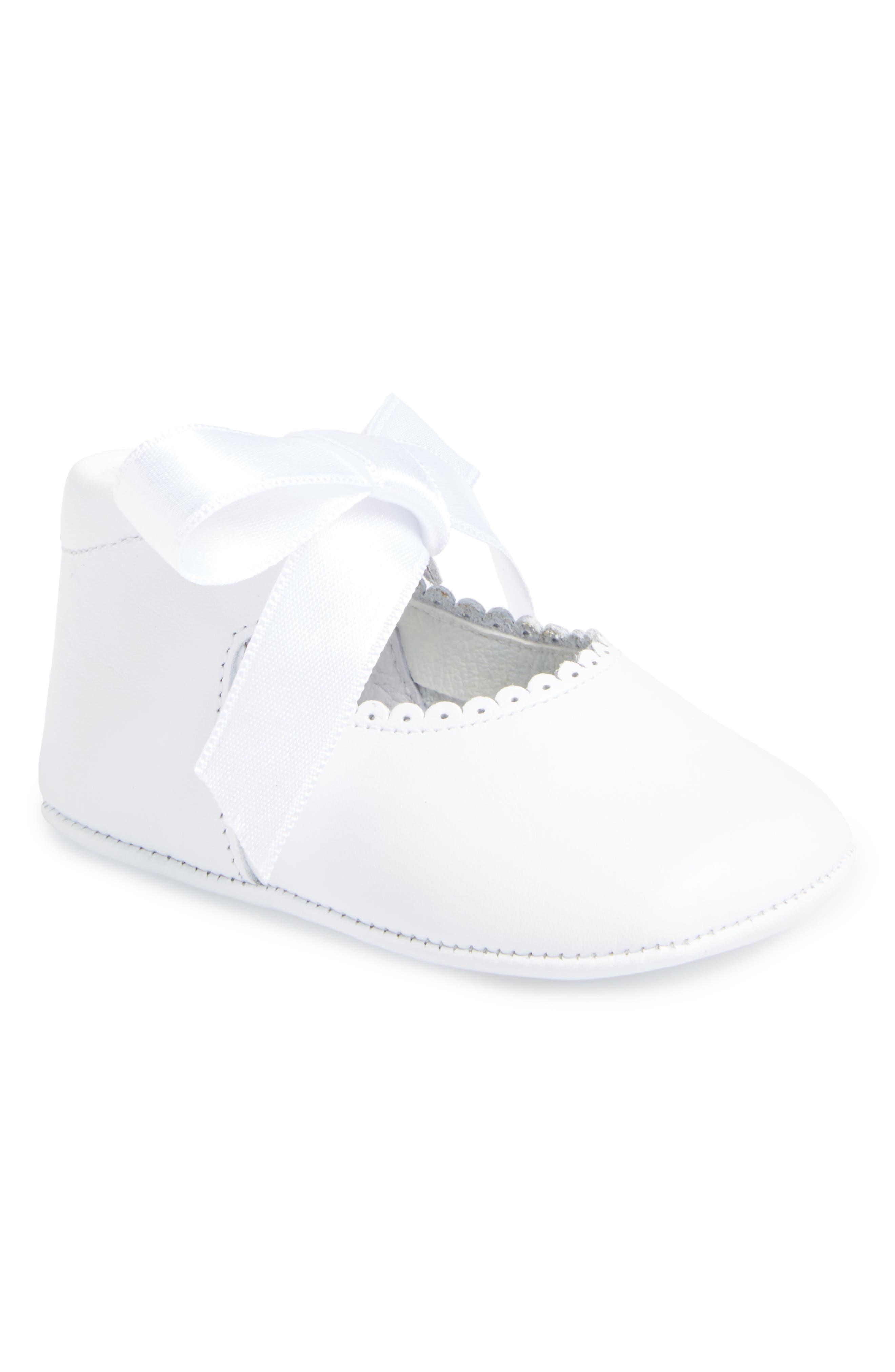 Satin Bow Crib Shoe,                             Main thumbnail 1, color,                             WHITE