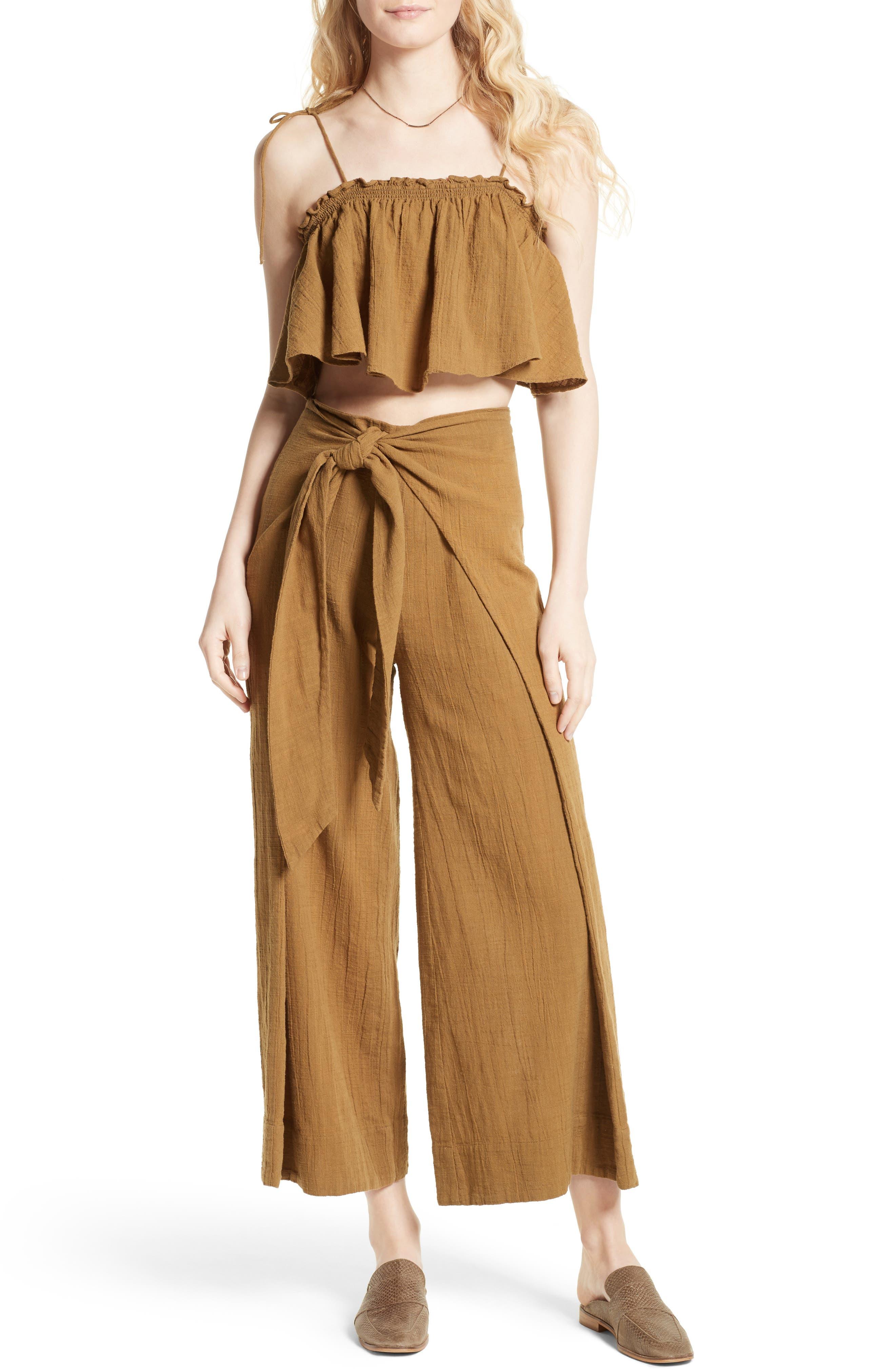 FREE PEOPLE Tropic Babe Crop Top & High Waist Pants Set, Main, color, 203