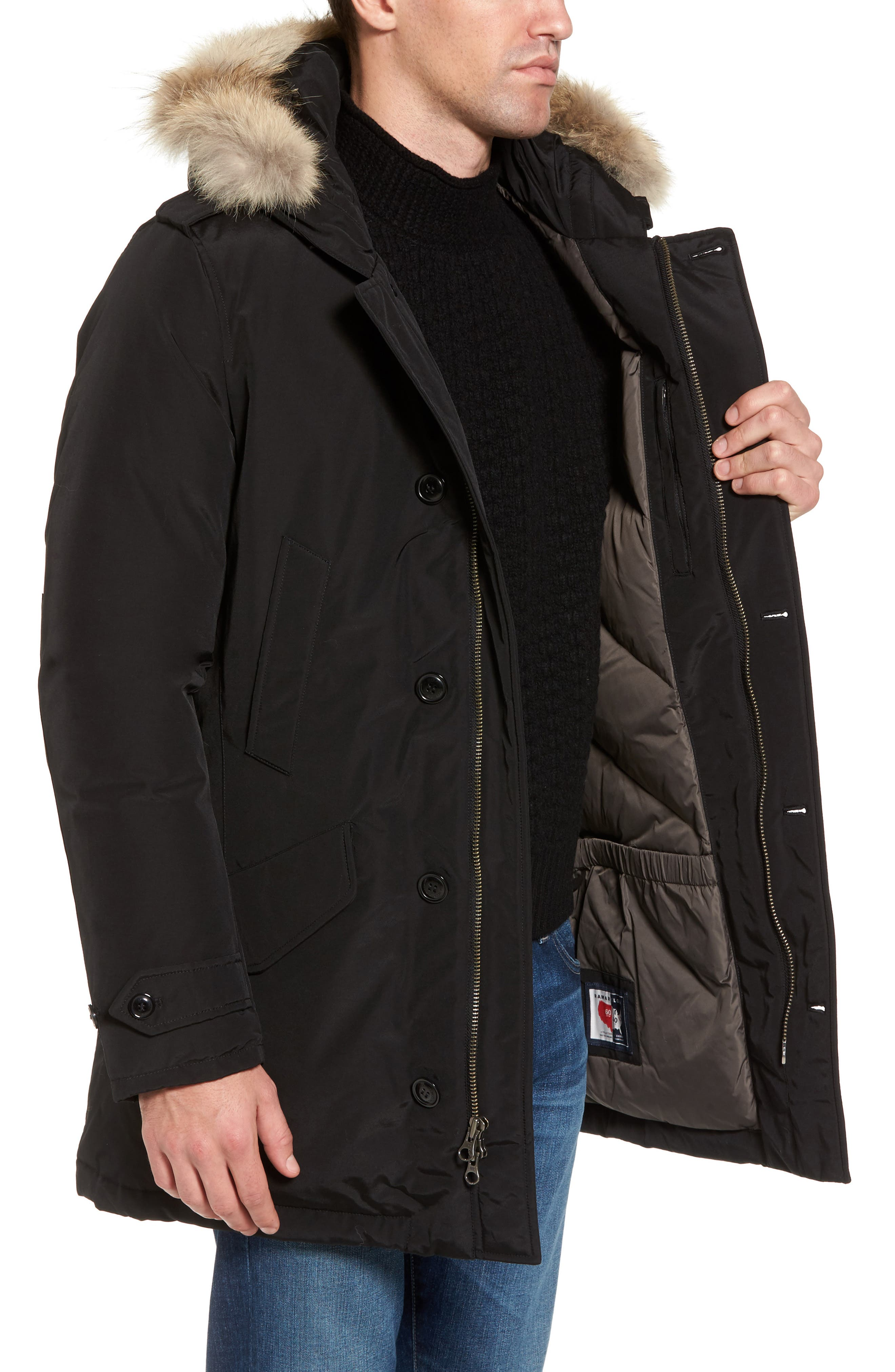 John Rich & Bros. Polar Down Parka with Genuine Coyote Fur Trim,                             Alternate thumbnail 3, color,                             001