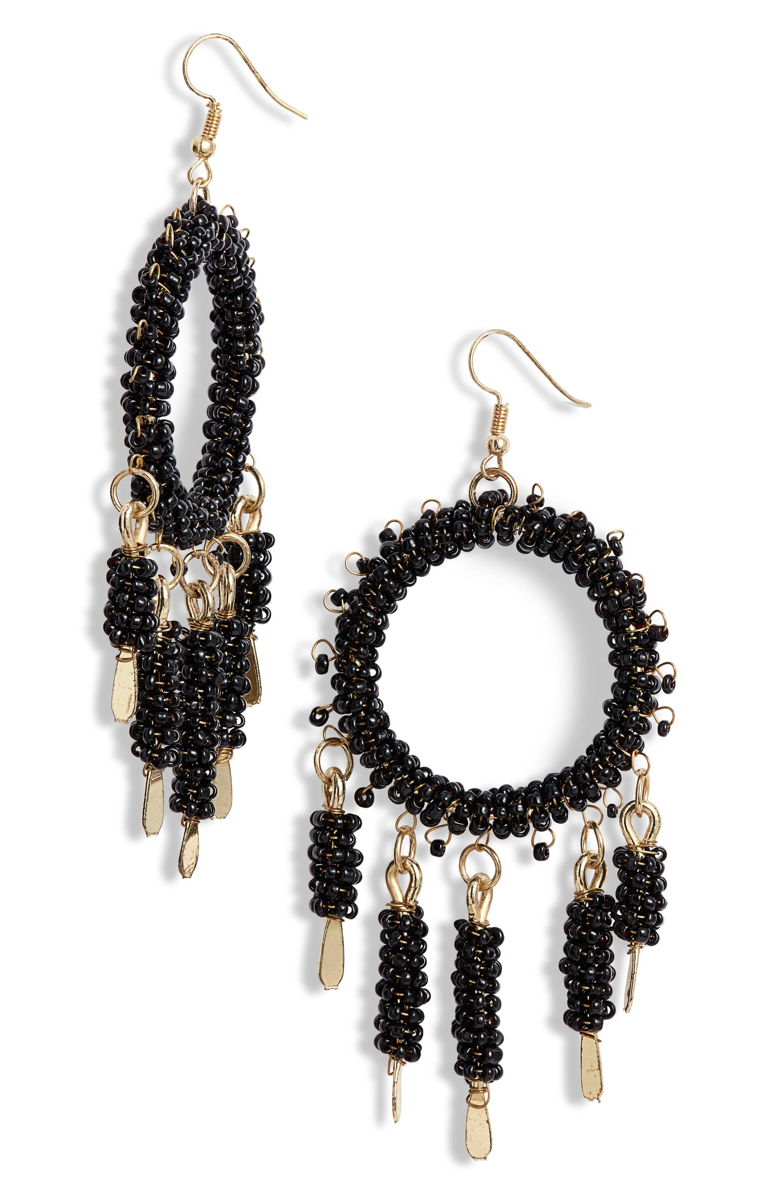 AREA STARS Bergen Hoop Earrings in Black