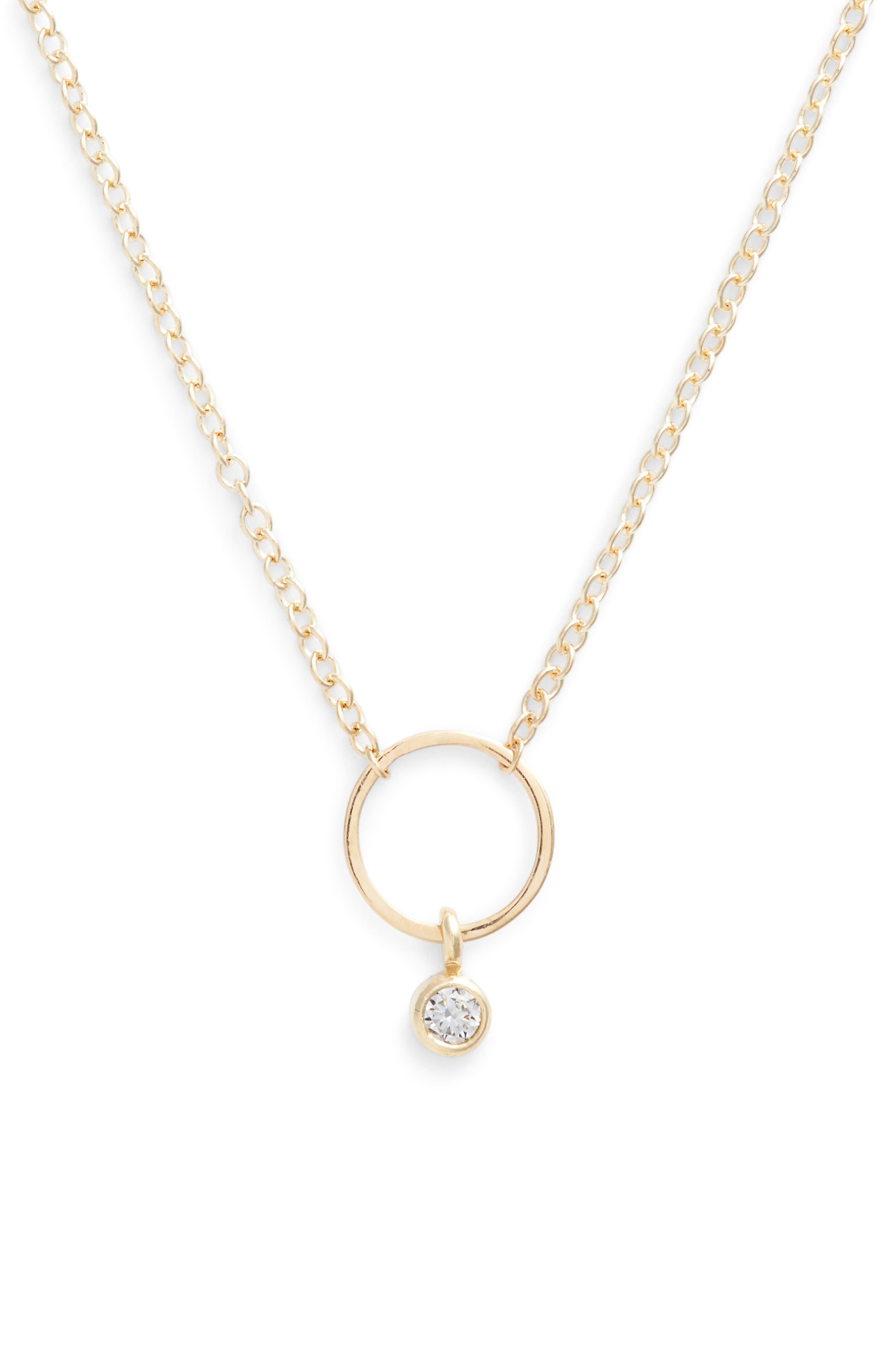 Dangling Diamond Circle Pendant Necklace,                             Main thumbnail 1, color,                             YELLOW GOLD