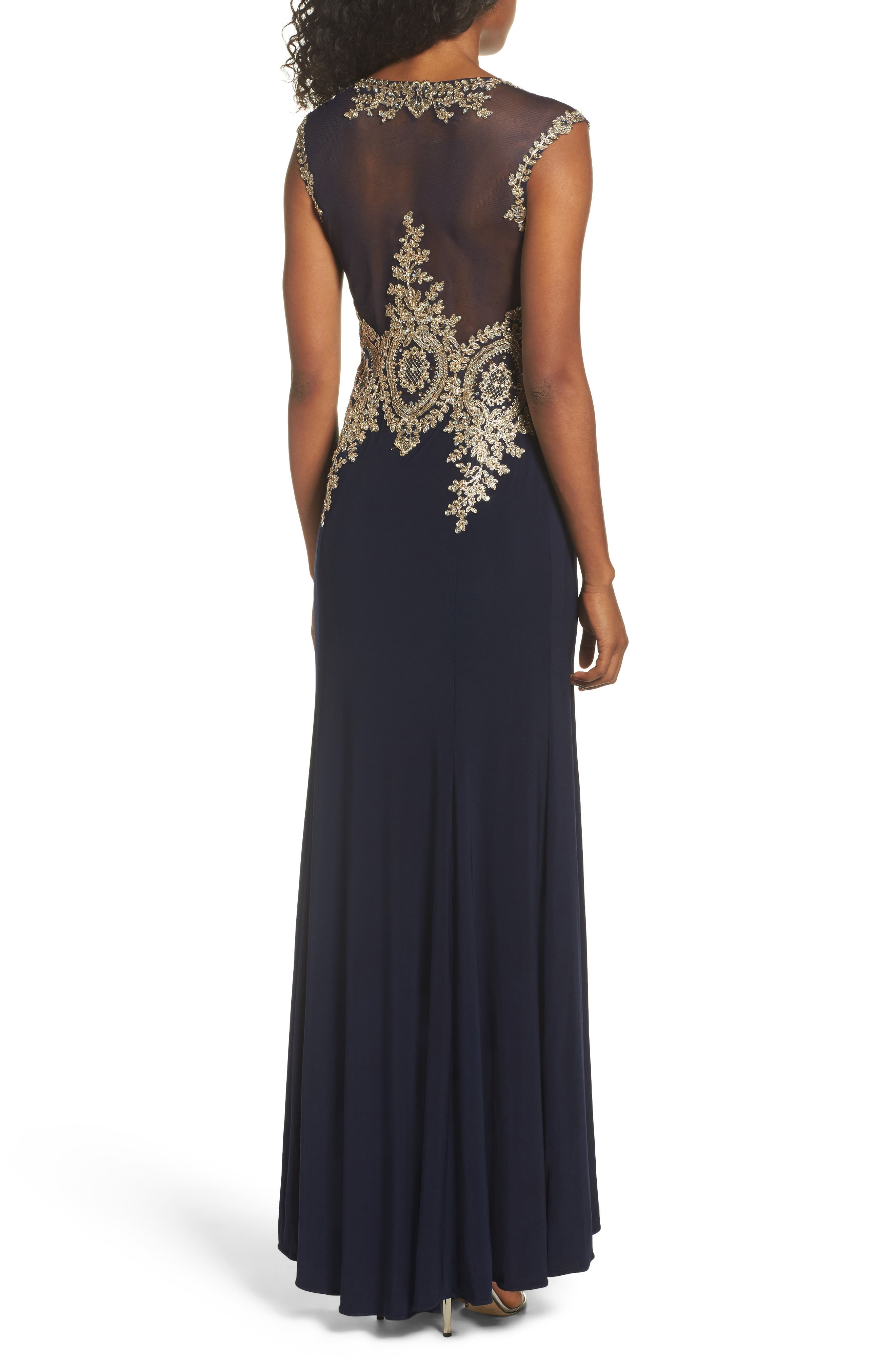 Embellished Jersey Gown,                             Alternate thumbnail 4, color,