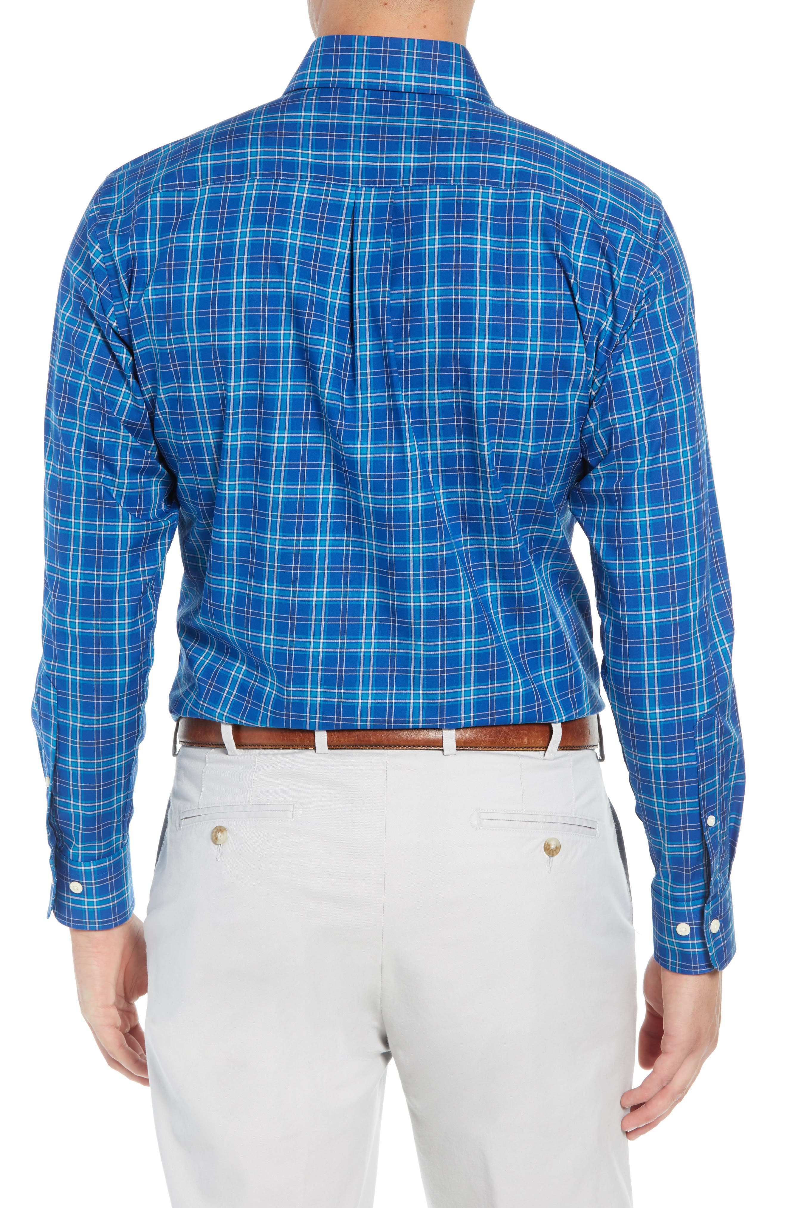 Crown Ease Salamanca Regular Fit Plaid Sport Shirt,                             Alternate thumbnail 3, color,                             BLUE