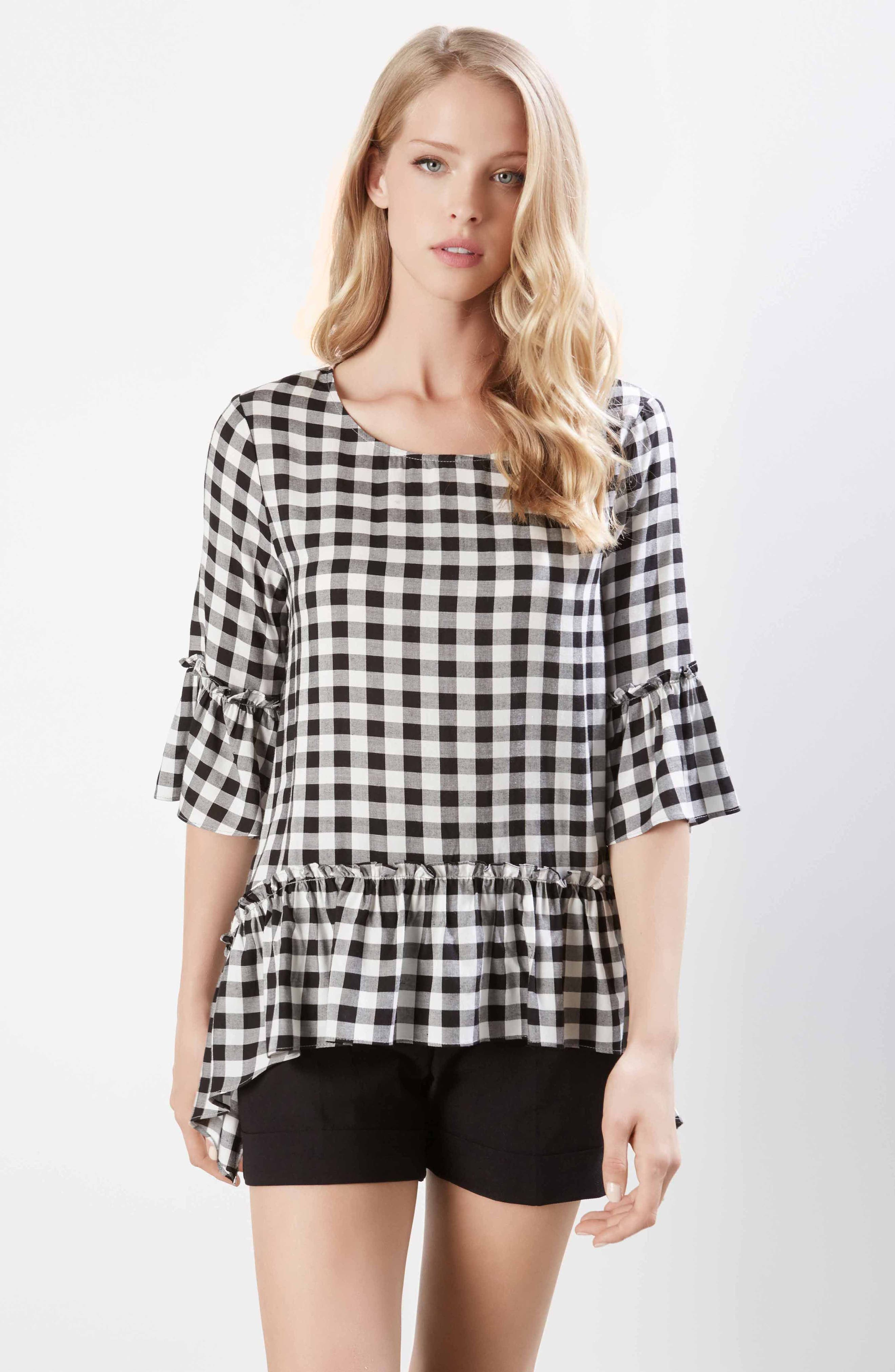 Gingham Check Ruffle Hem Top,                             Alternate thumbnail 3, color,                             010