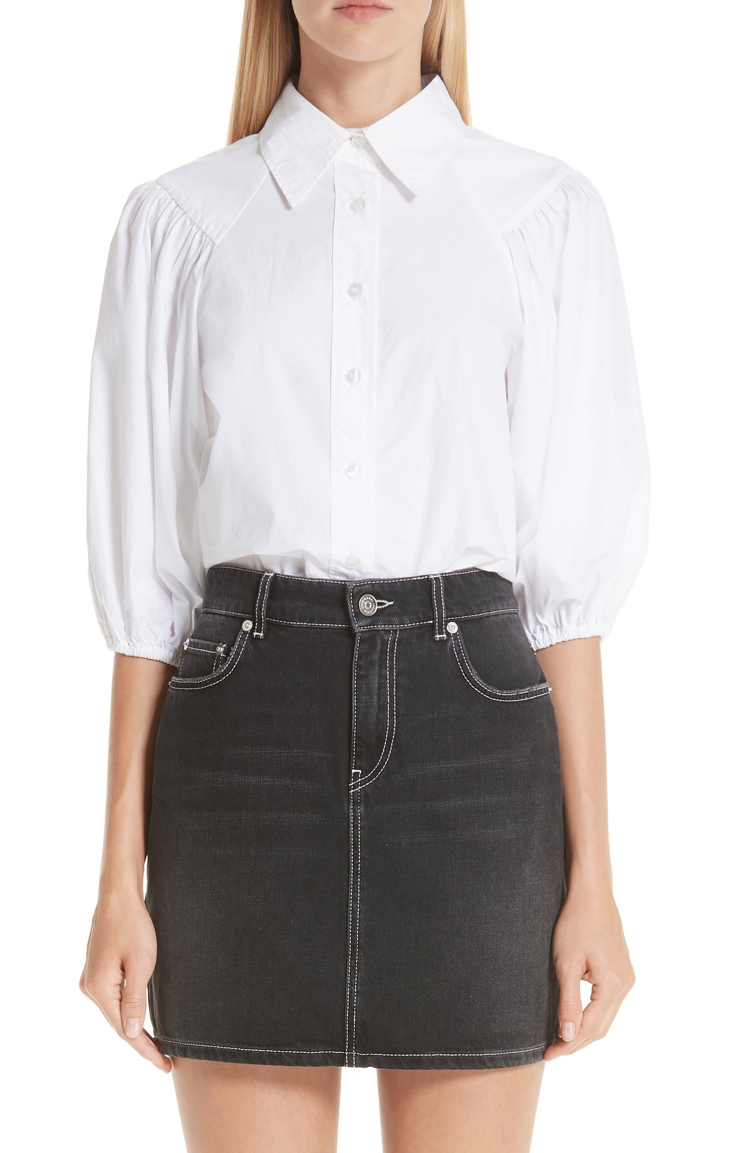 Cotton Poplin Shirt, Main, color, BRIGHT WHITE 151