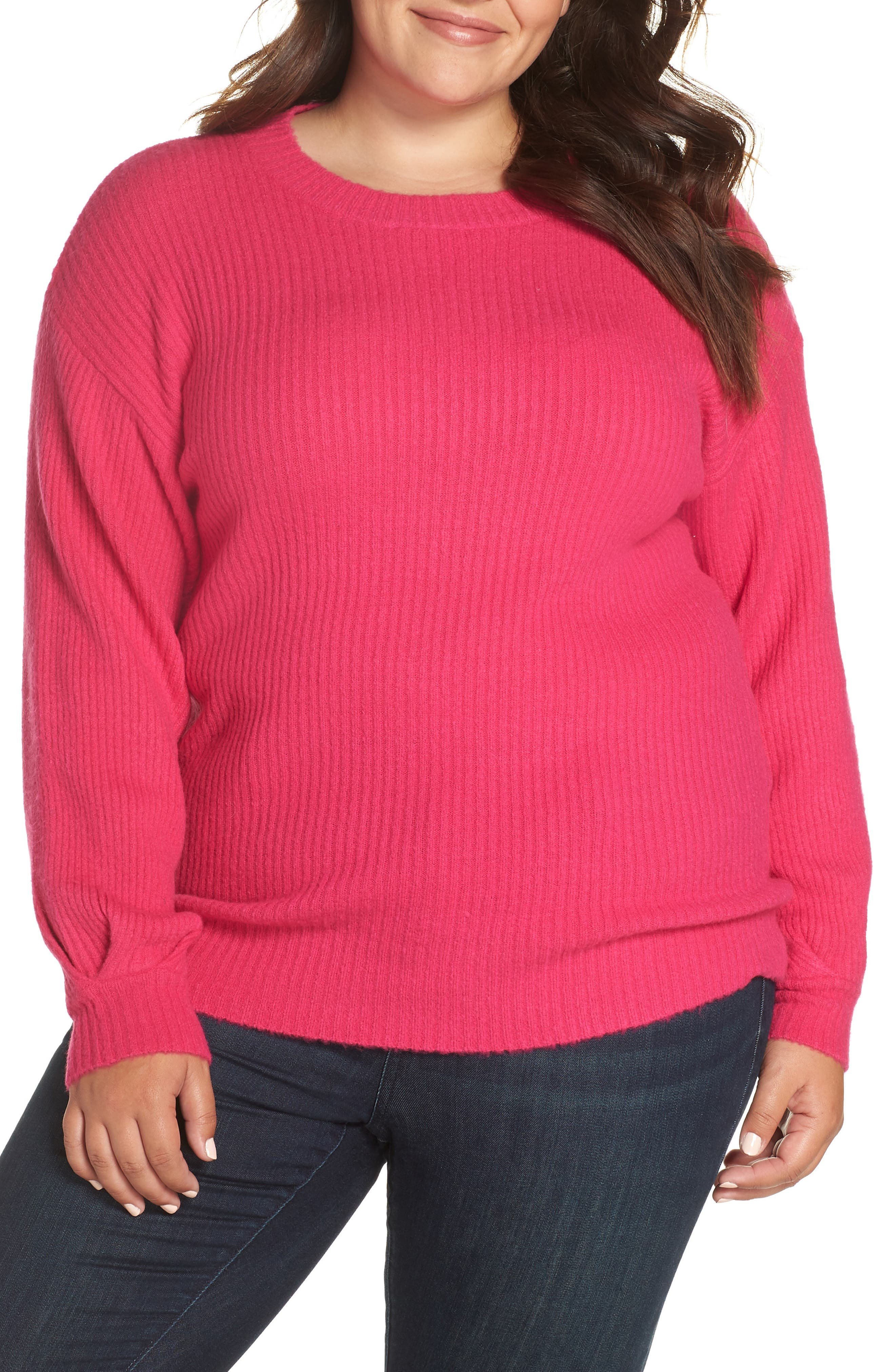 GLAMOROUS Pleat Sleeve Sweater in Hot Pink