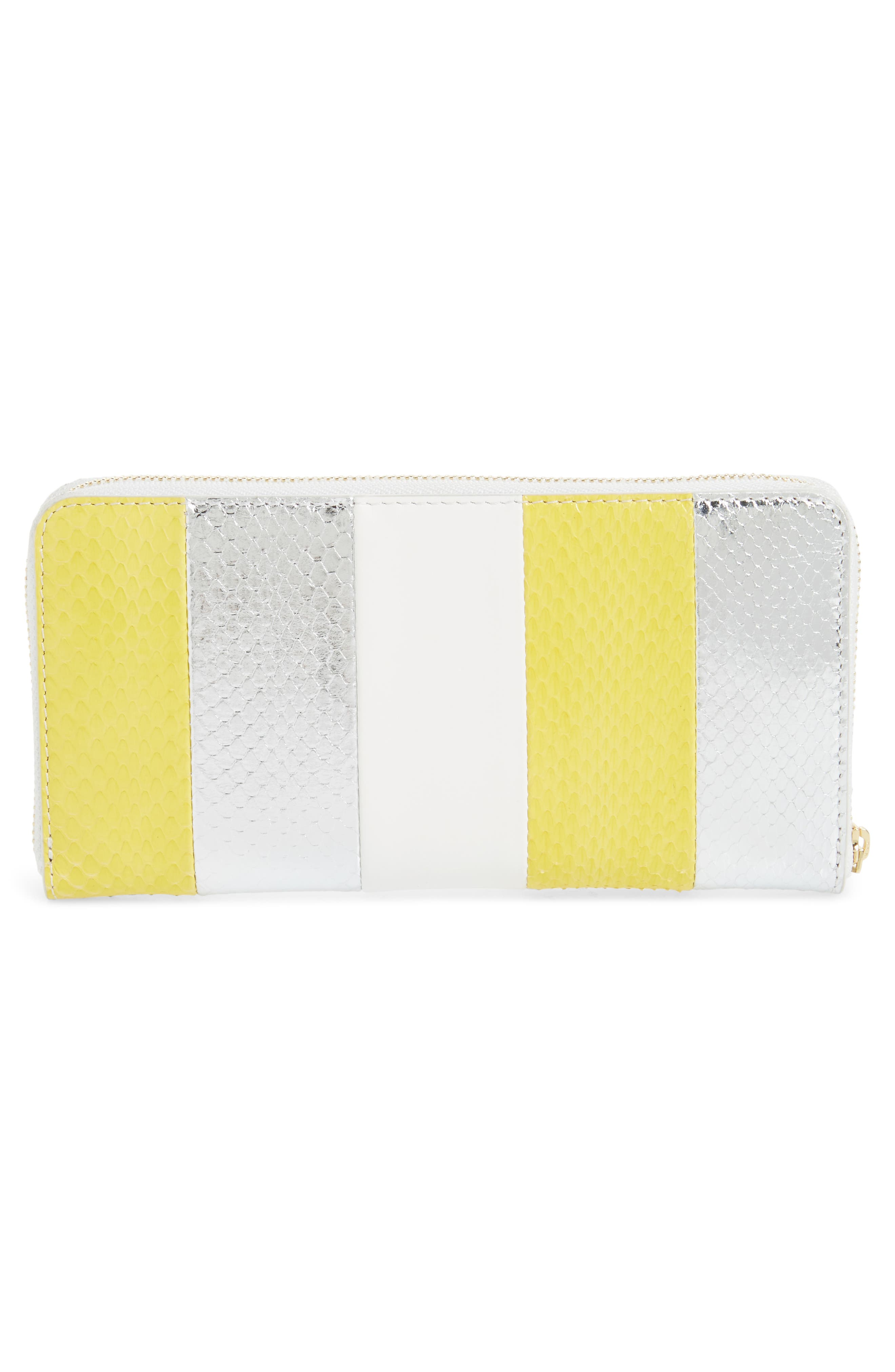 Leather & Genuine Snakeskin Continental Zip Wallet,                             Alternate thumbnail 3, color,                             700