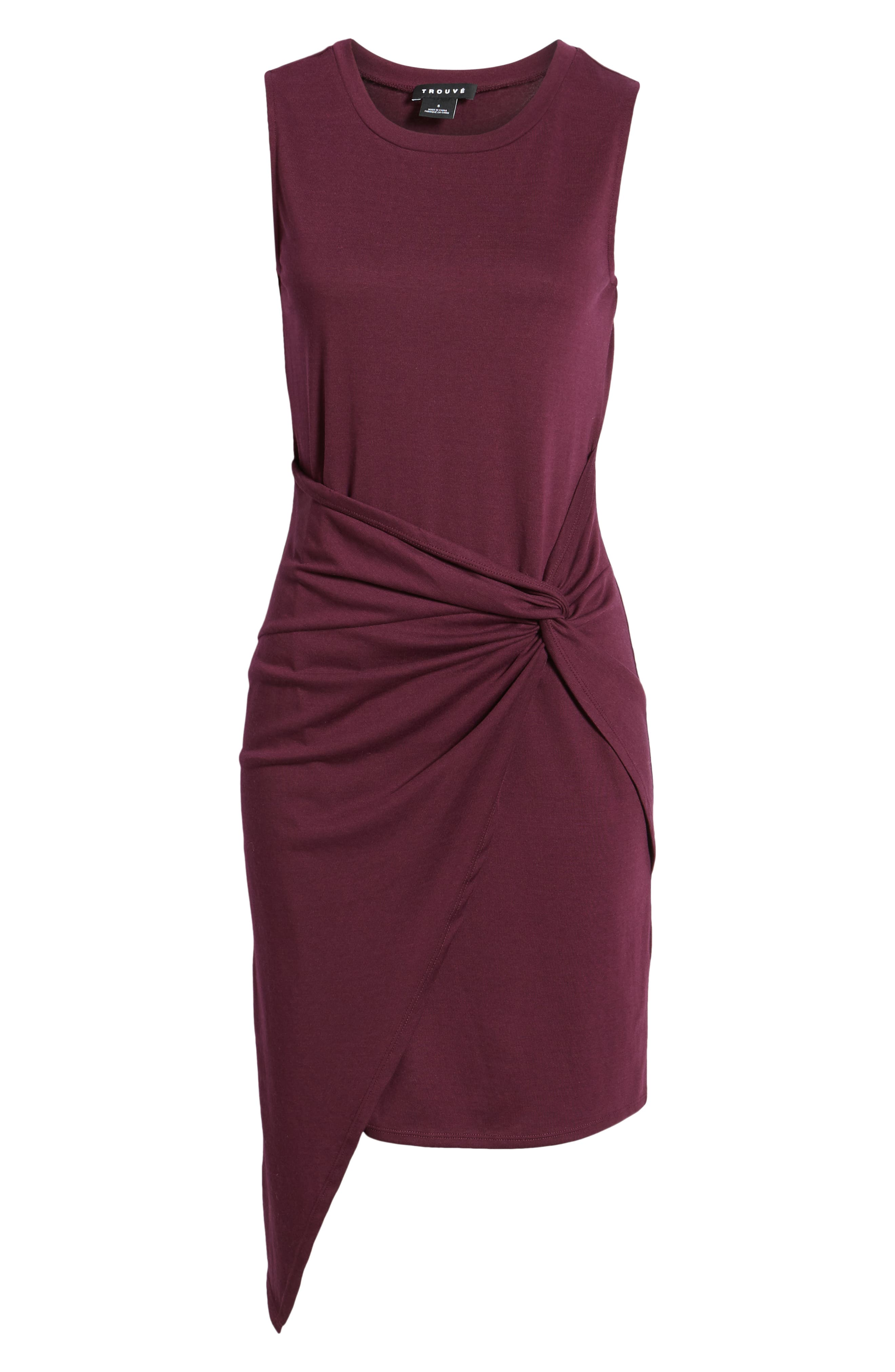 Twist Front Dress,                             Alternate thumbnail 7, color,                             PURPLE POTENT