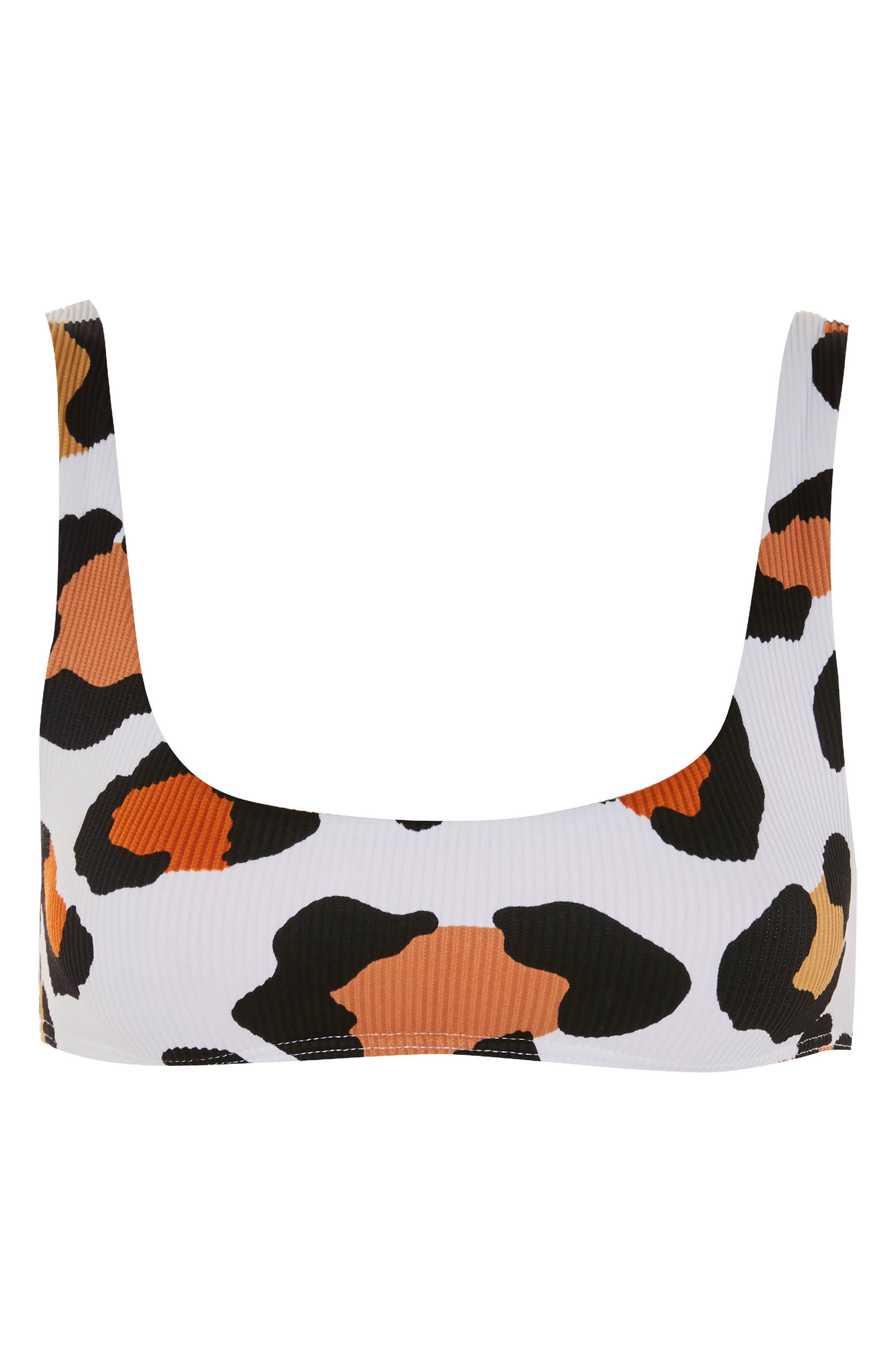 Leopard Ribbed Crop Bikini,                             Alternate thumbnail 3, color,                             100