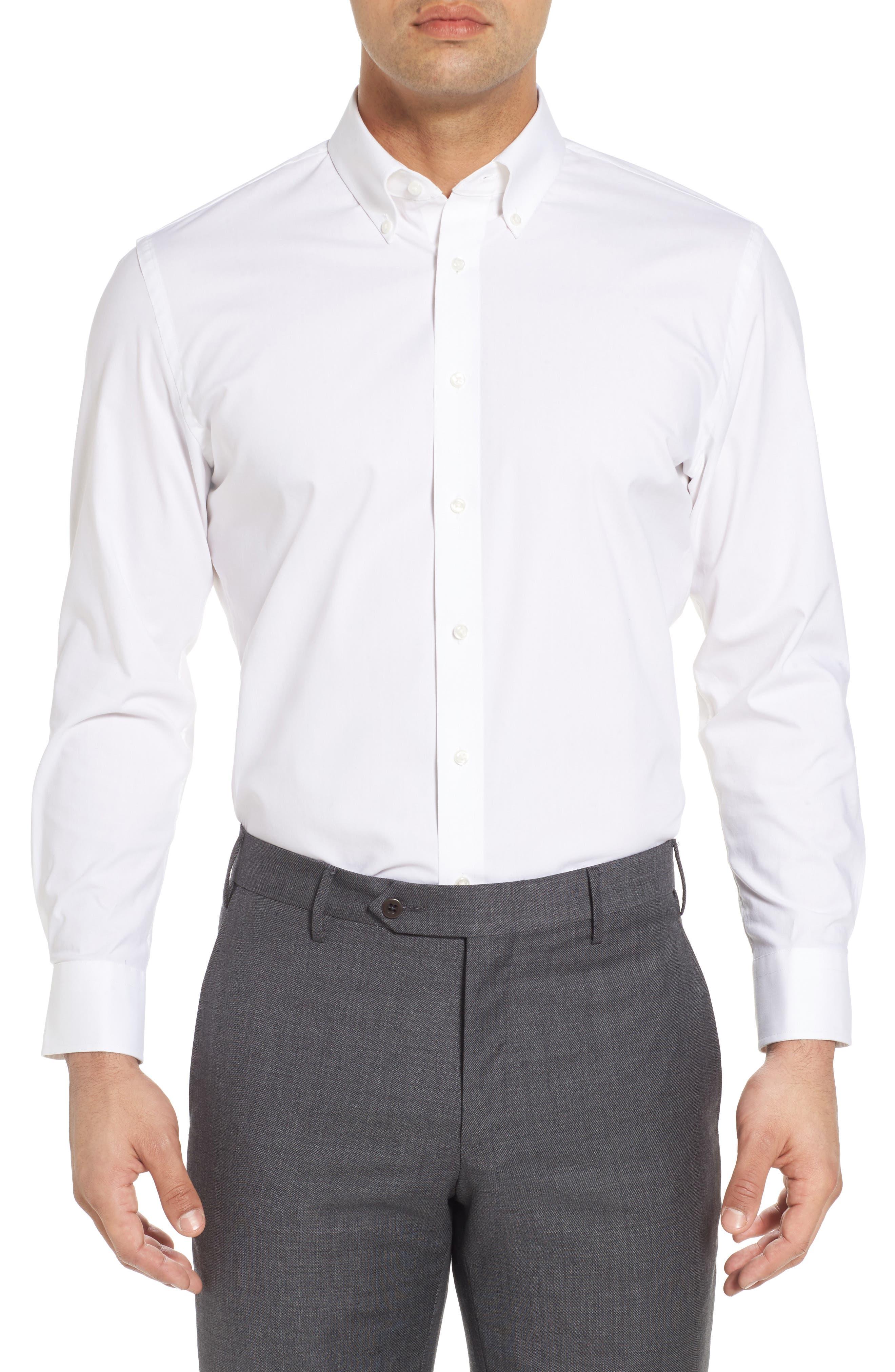 Tech-Smart Trim Fit Stretch Pinpoint Dress Shirt,                         Main,                         color, WHITE