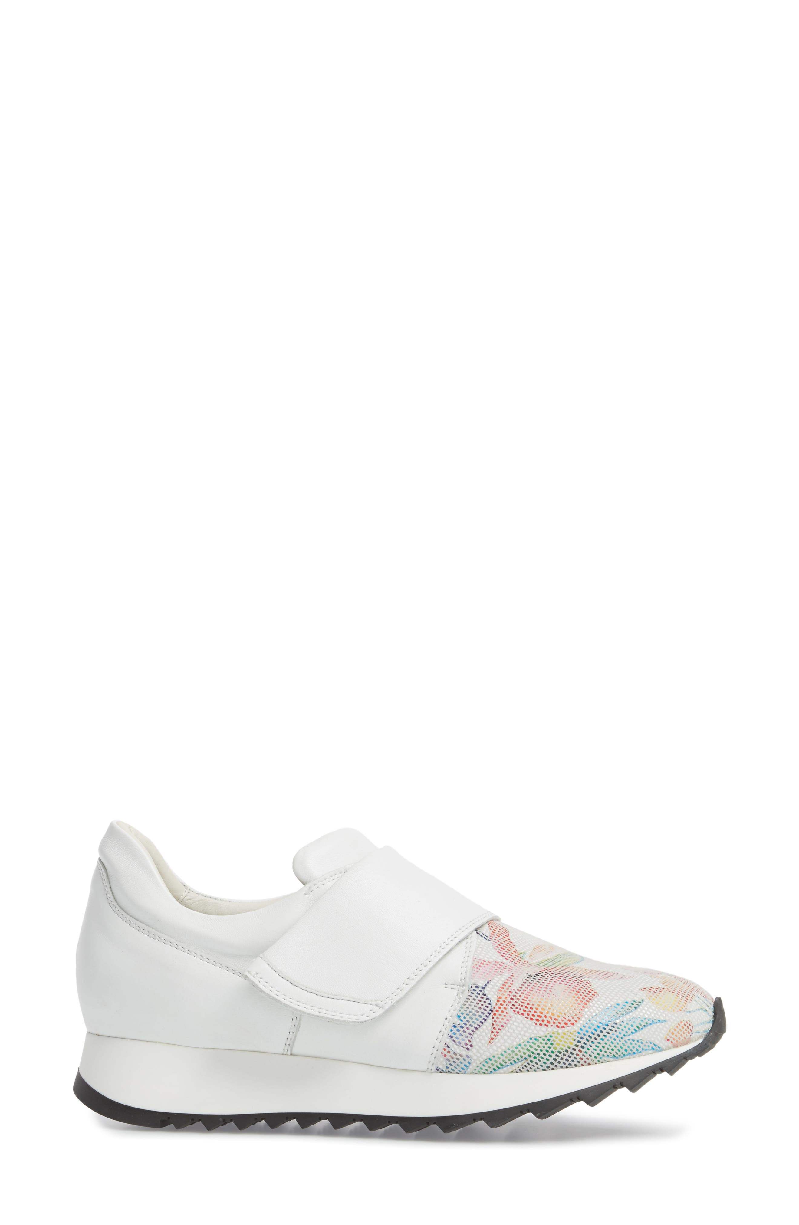 Danza Wedge Sneaker,                             Alternate thumbnail 3, color,                             WHITE LEATHER