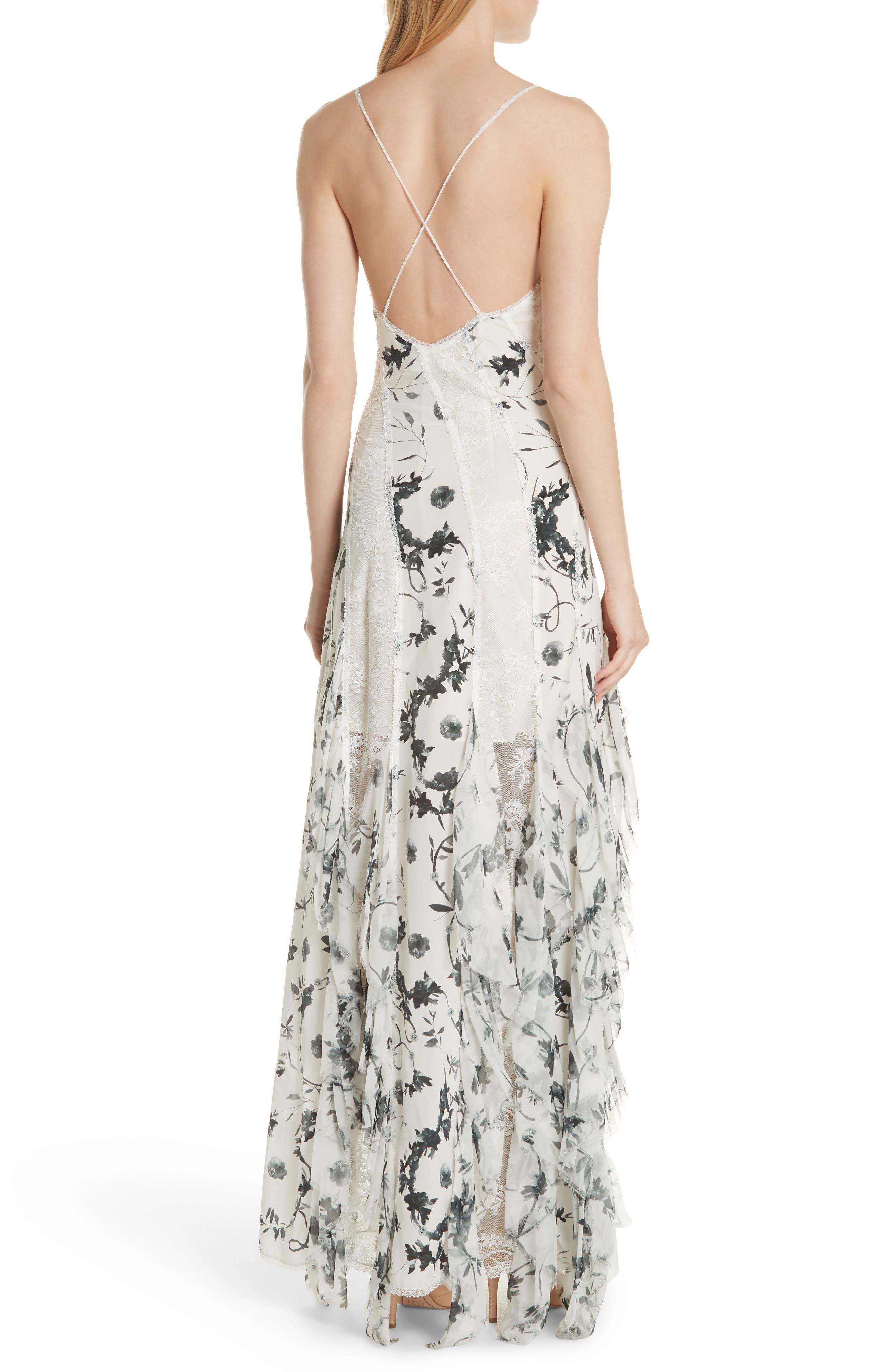 Jayda Godet Lace Inset Silk Maxi Dress,                             Alternate thumbnail 2, color,                             901
