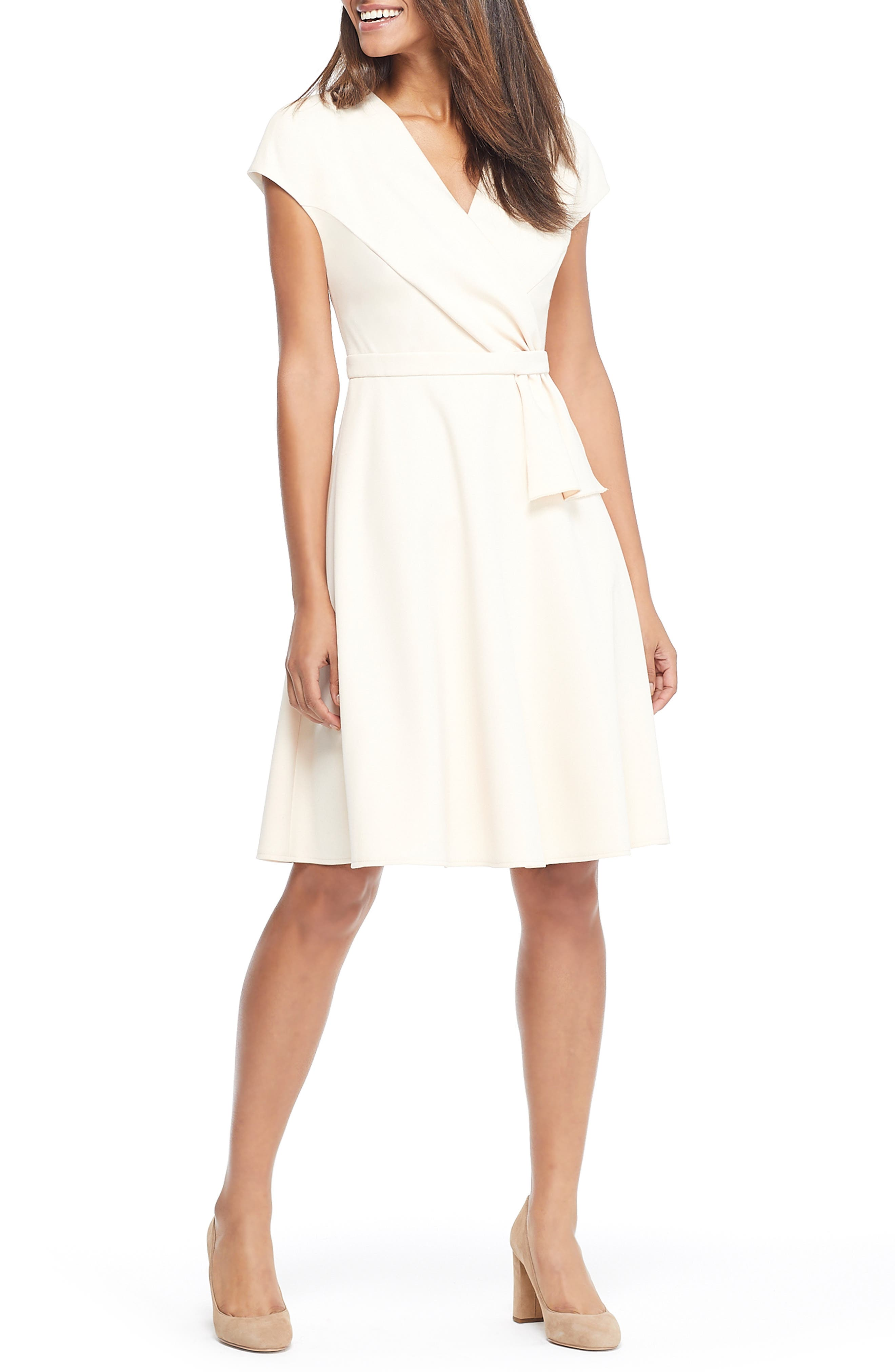 Gal Meets Glam Collection Lydia Double Face Twist Dress, Ivory