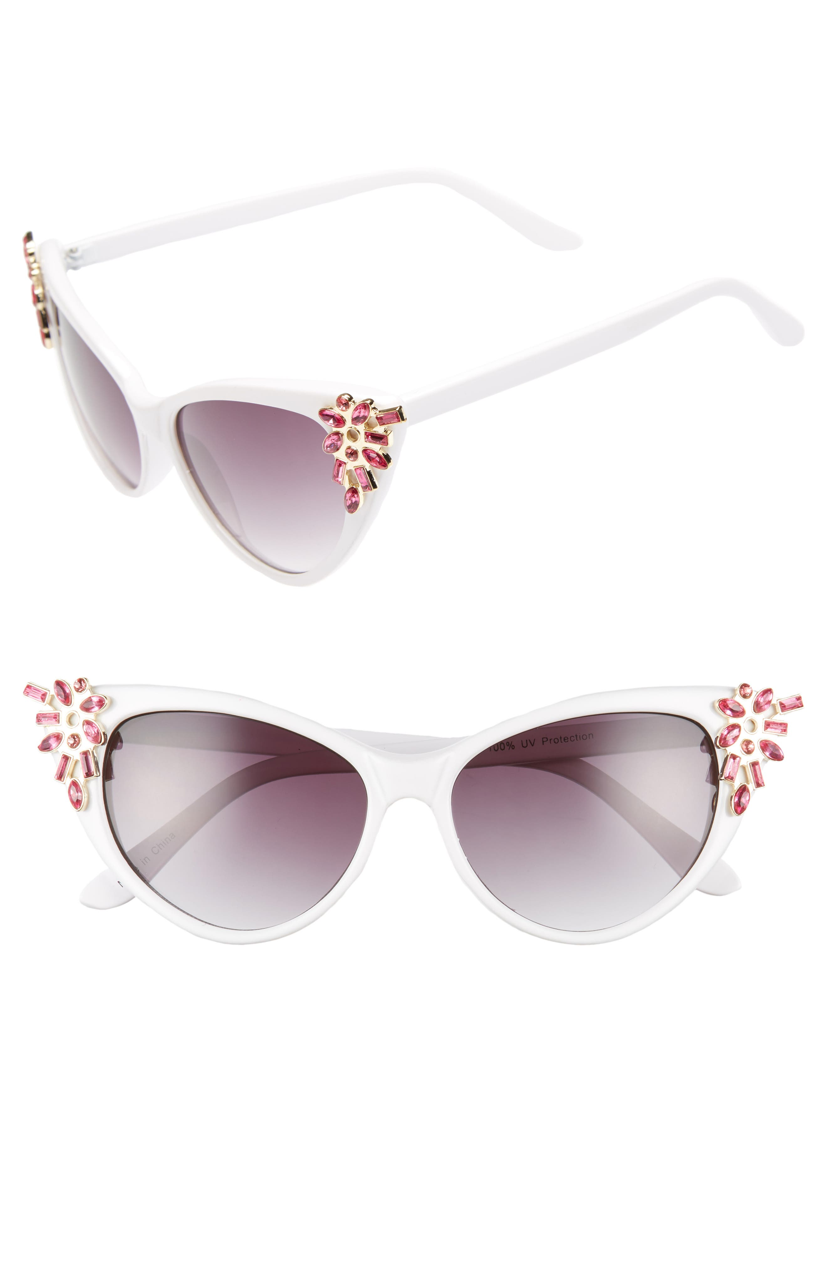 54mm Crystal Exaggerated Cat Eye Sunglasses,                             Main thumbnail 1, color,                             WHITE/ PINK
