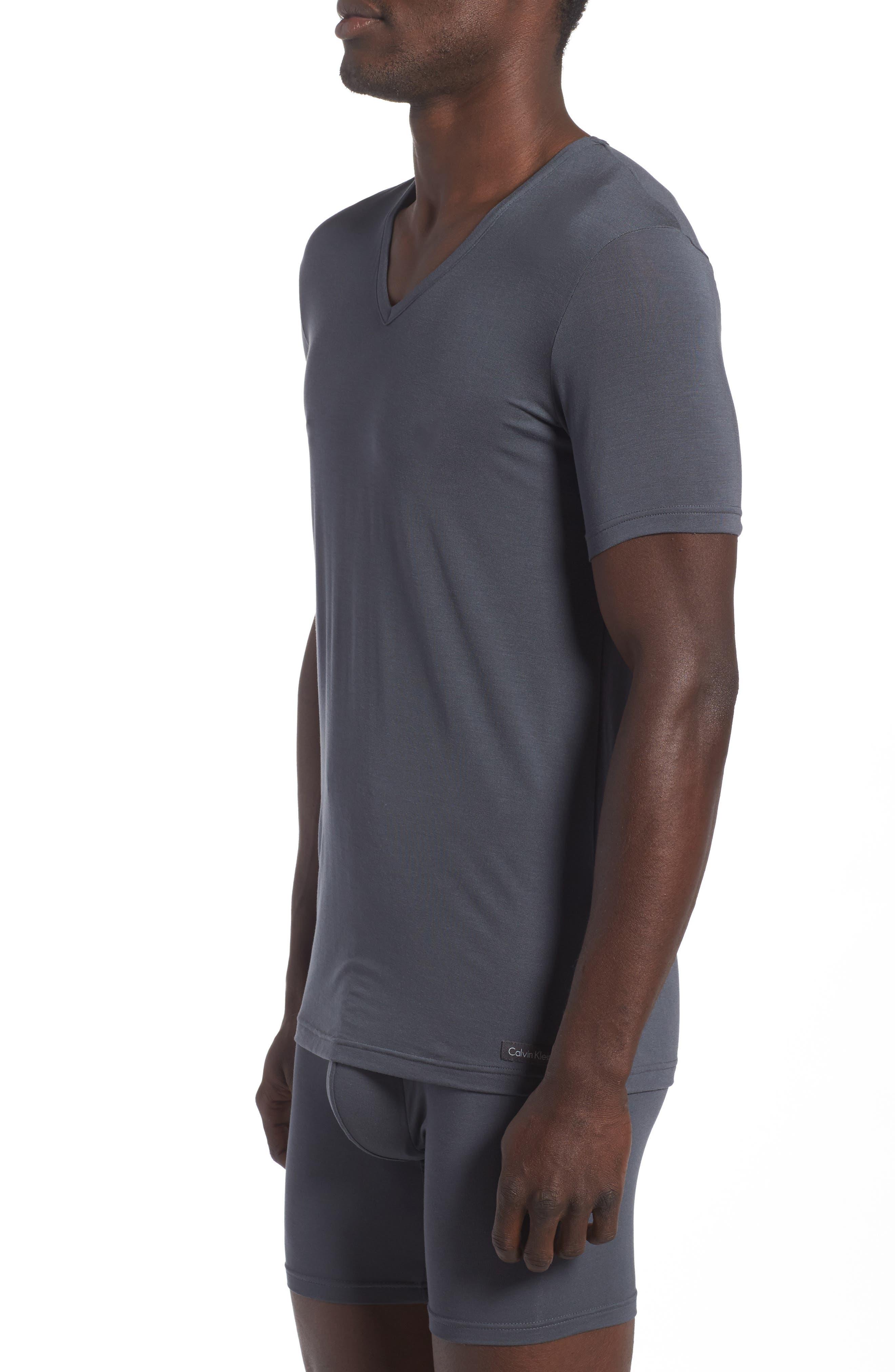 'U5563' V-Neck Micromodal T-Shirt,                             Alternate thumbnail 3, color,                             MINK